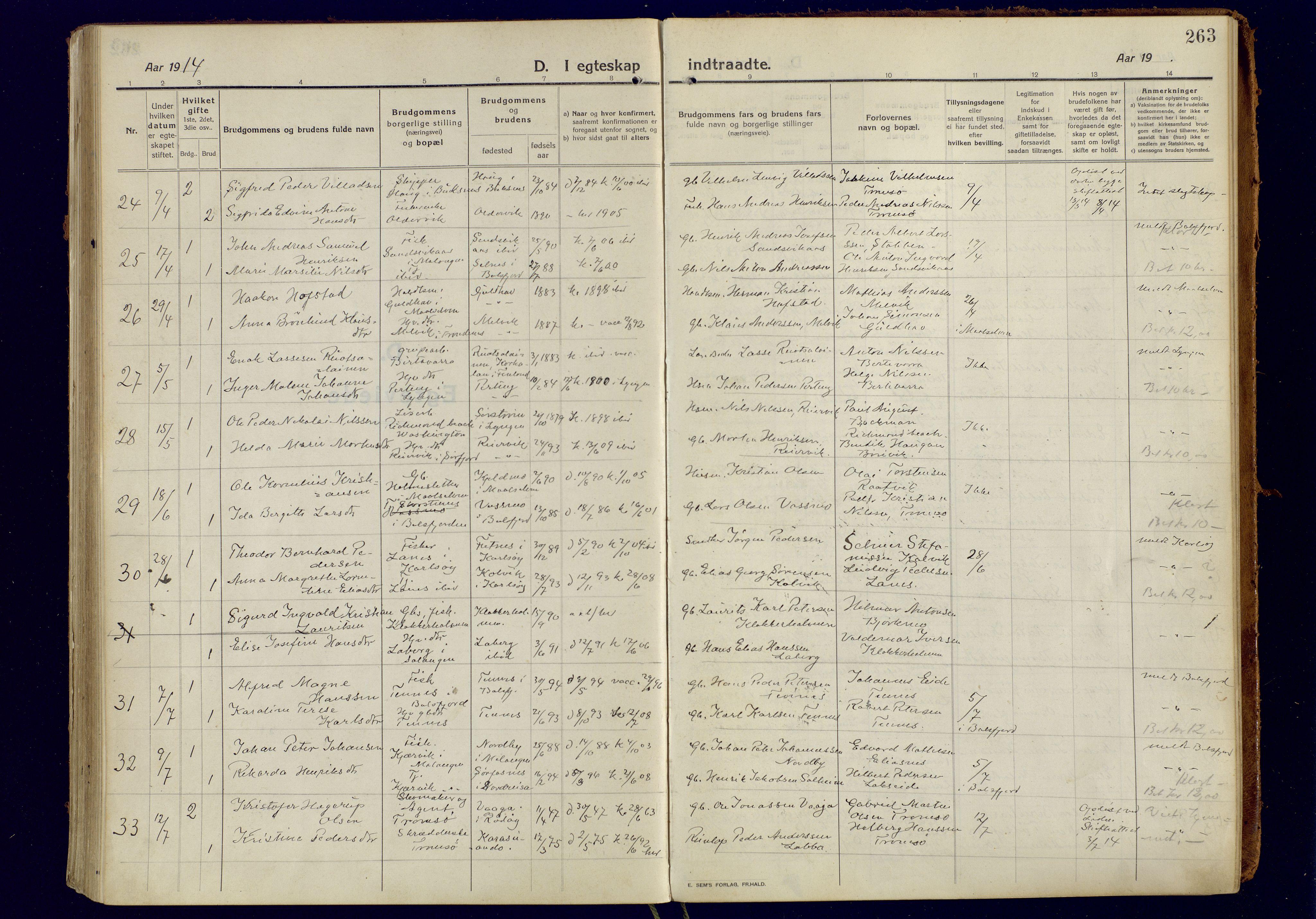 SATØ, Tromsøysund sokneprestkontor, G/Ga: Parish register (official) no. 8, 1914-1922, p. 263