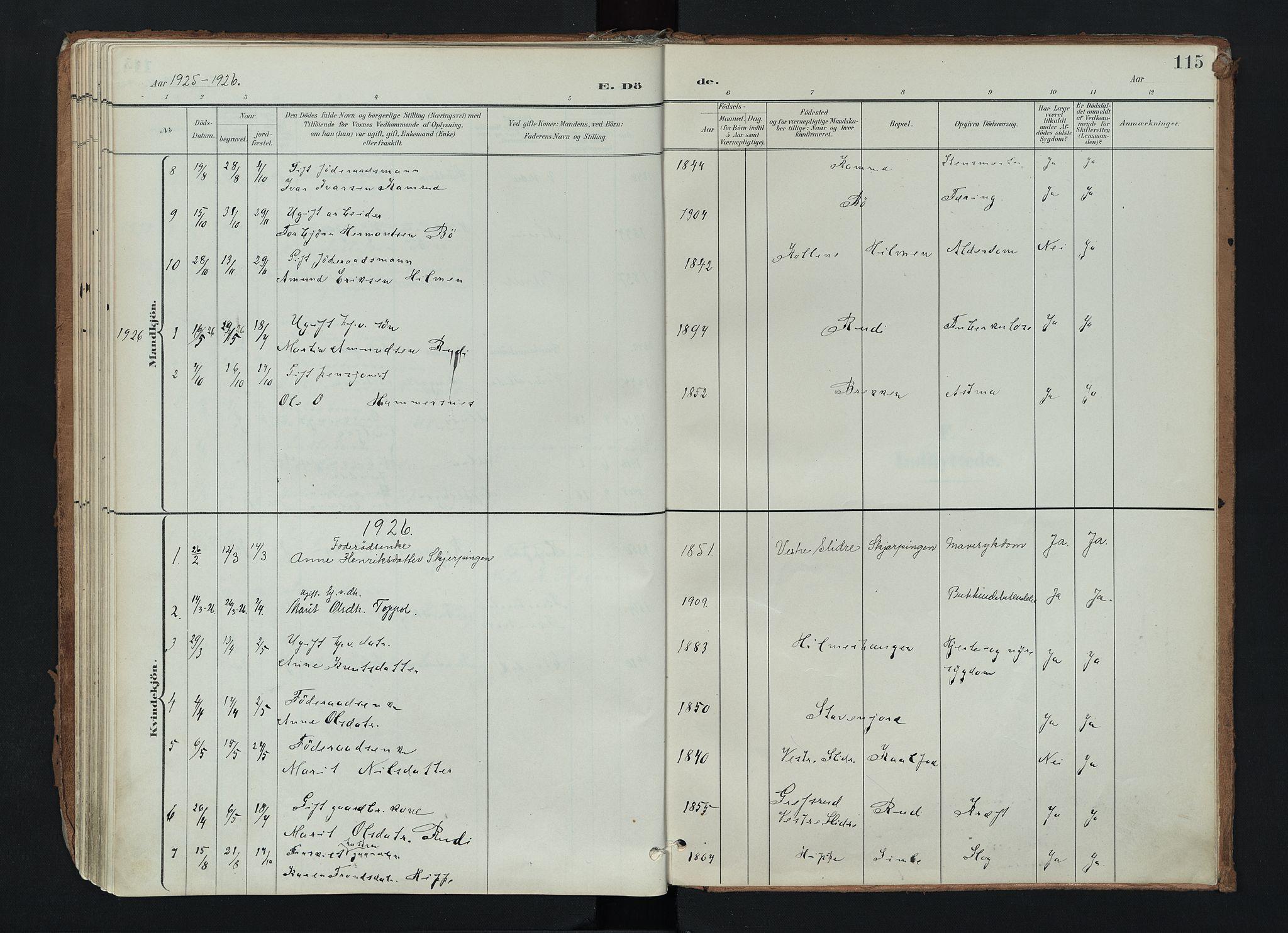 SAH, Nord-Aurdal prestekontor, Parish register (official) no. 17, 1897-1926, p. 115
