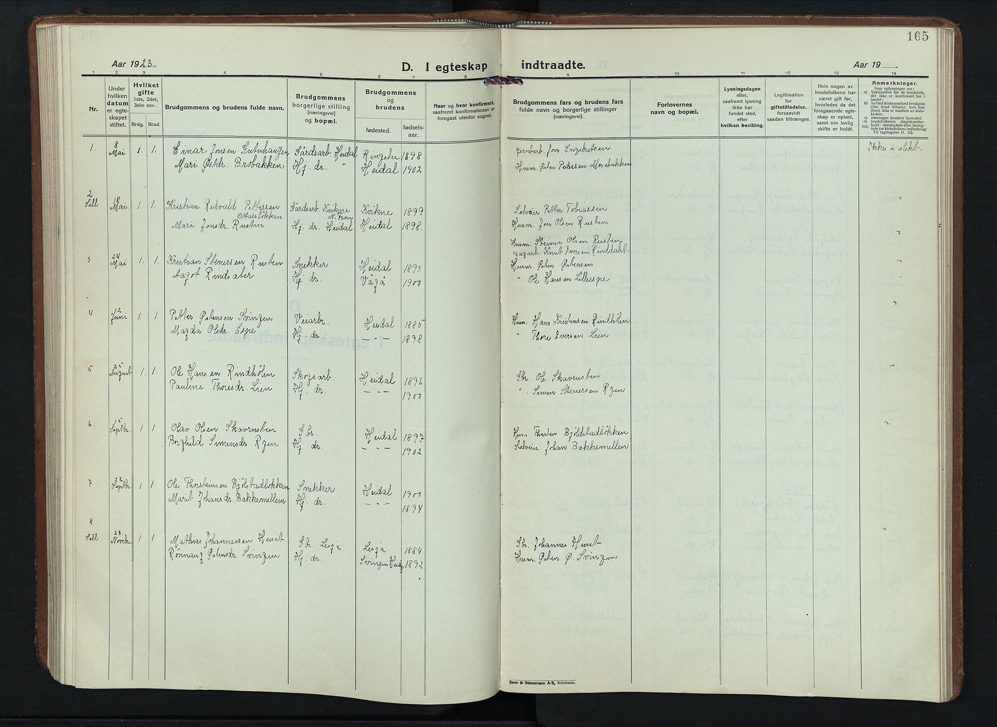 SAH, Sel prestekontor, Parish register (copy) no. 6, 1923-1953, p. 165