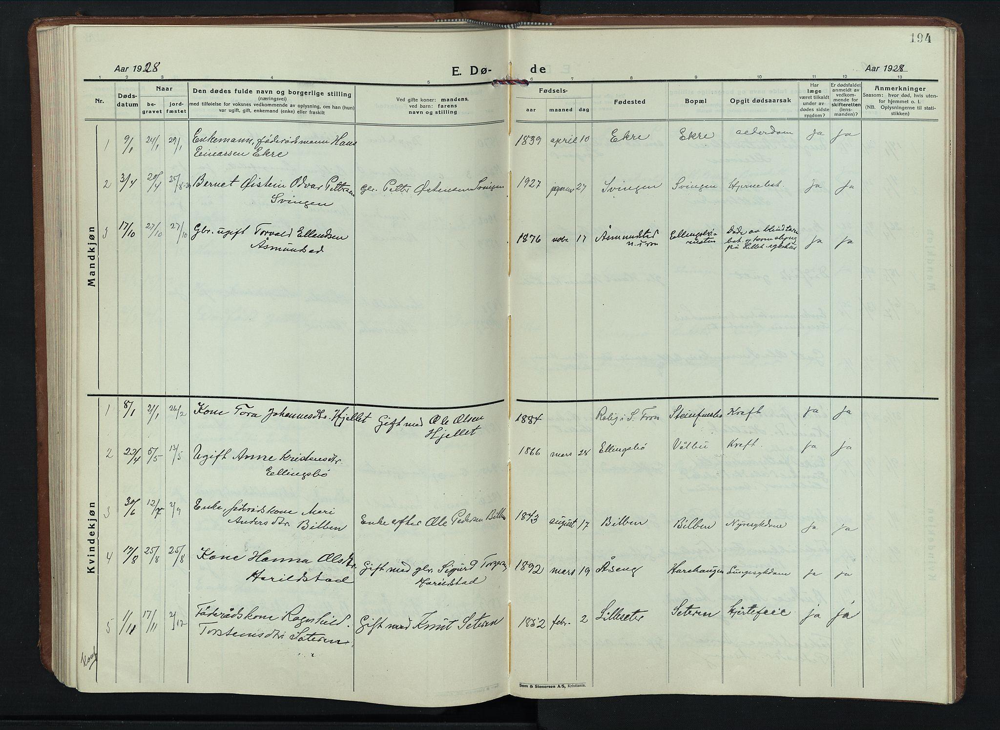 SAH, Sel prestekontor, Parish register (copy) no. 6, 1923-1953, p. 194