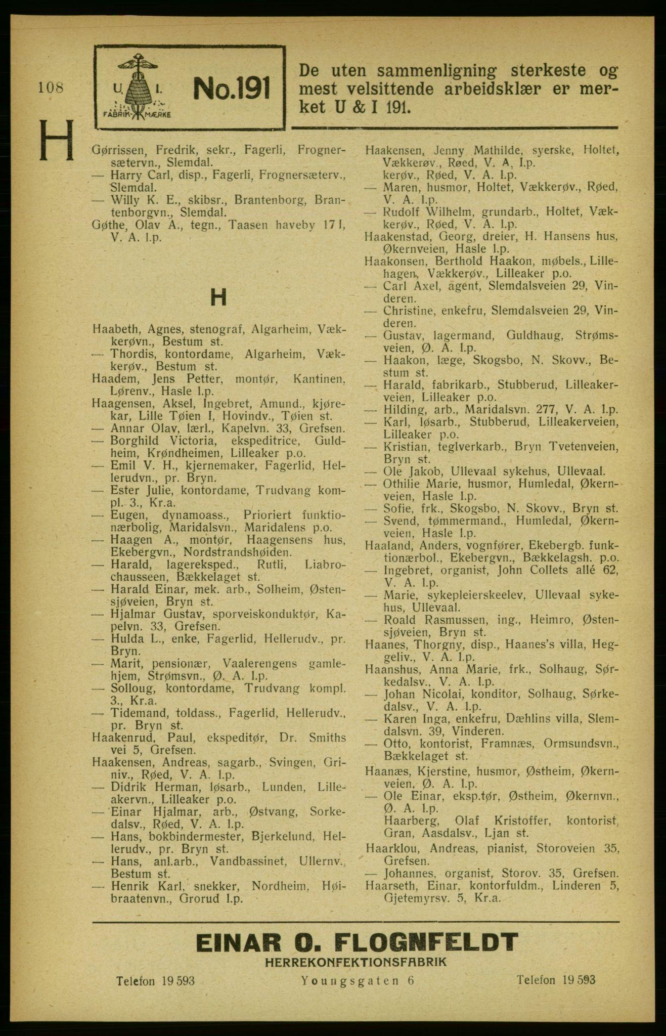 RA, Aker adressebok/adressekalender (publikasjon)*, 1922, p. 108