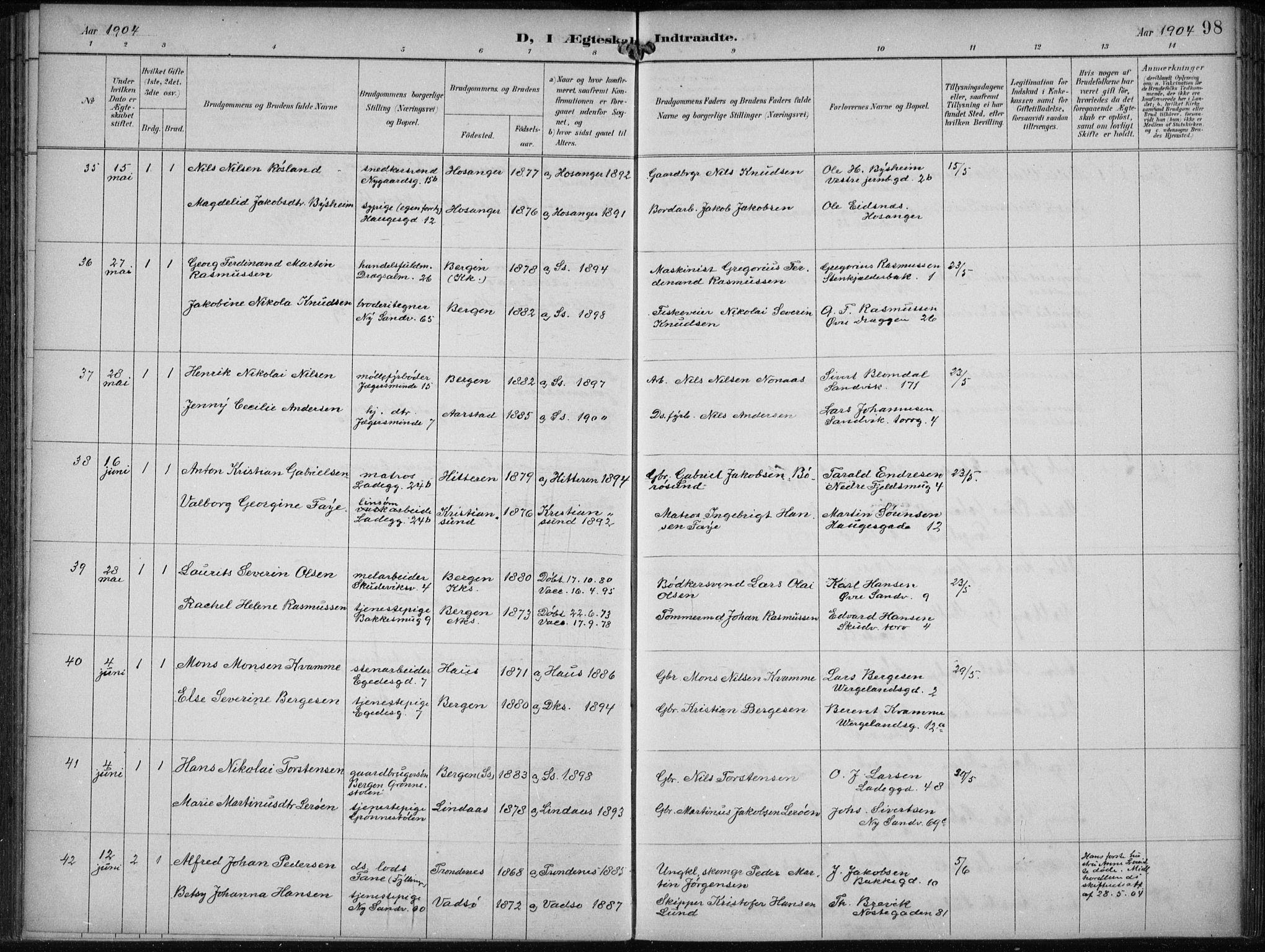 SAB, Sandviken Sokneprestembete, H/Haa/L0014: Parish register (official) no. D 1, 1896-1911, p. 98