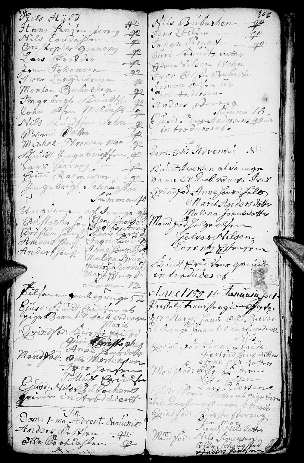 SAH, Kvikne prestekontor, Parish register (official) no. 1, 1740-1756, p. 346-347