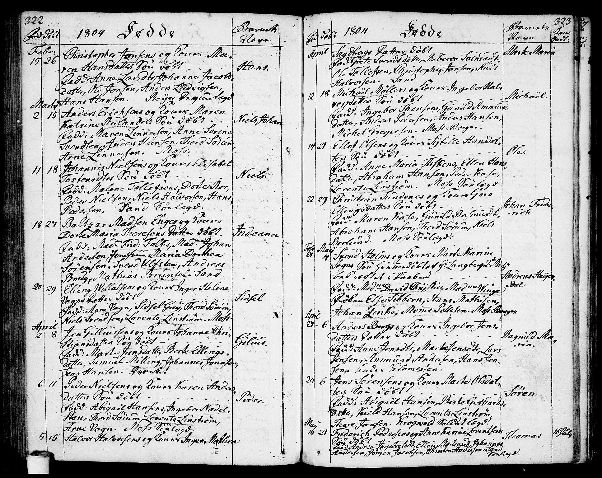 SAO, Moss prestekontor Kirkebøker, F/Fa/Faa/L0004: Parish register (official) no. I 4, 1784-1808, p. 322-323