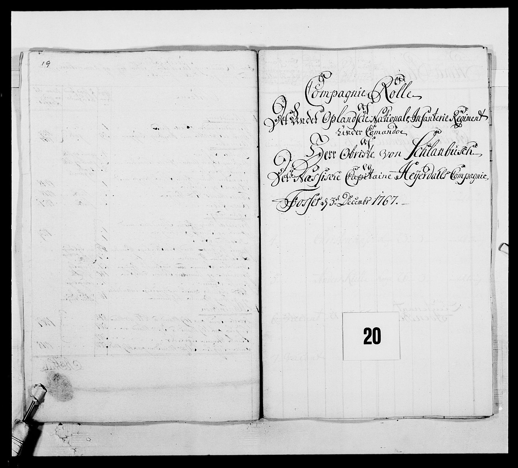 RA, Kommanderende general (KG I) med Det norske krigsdirektorium, E/Ea/L0507: 2. Opplandske regiment, 1766-1767, p. 439