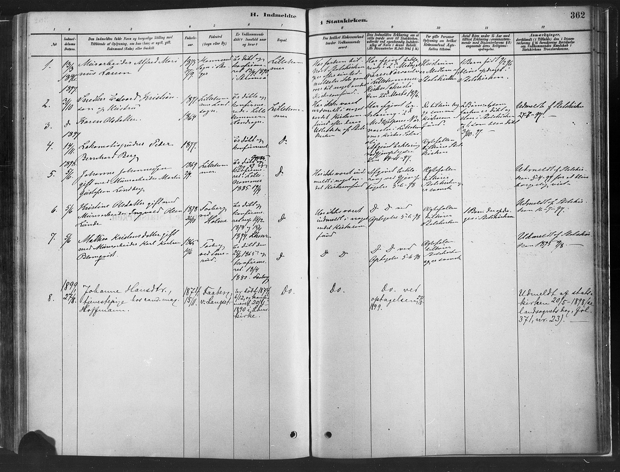 SAH, Fåberg prestekontor, H/Ha/Haa/L0010: Parish register (official) no. 10, 1879-1900, p. 362