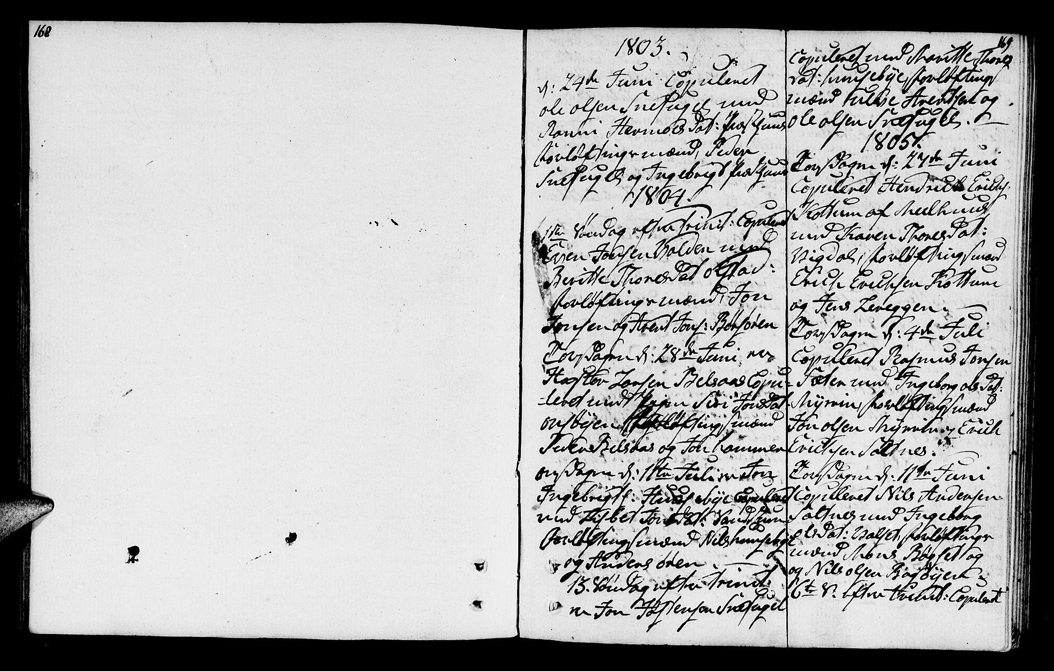 SAT, Ministerialprotokoller, klokkerbøker og fødselsregistre - Sør-Trøndelag, 666/L0785: Parish register (official) no. 666A03, 1803-1816, p. 168-169