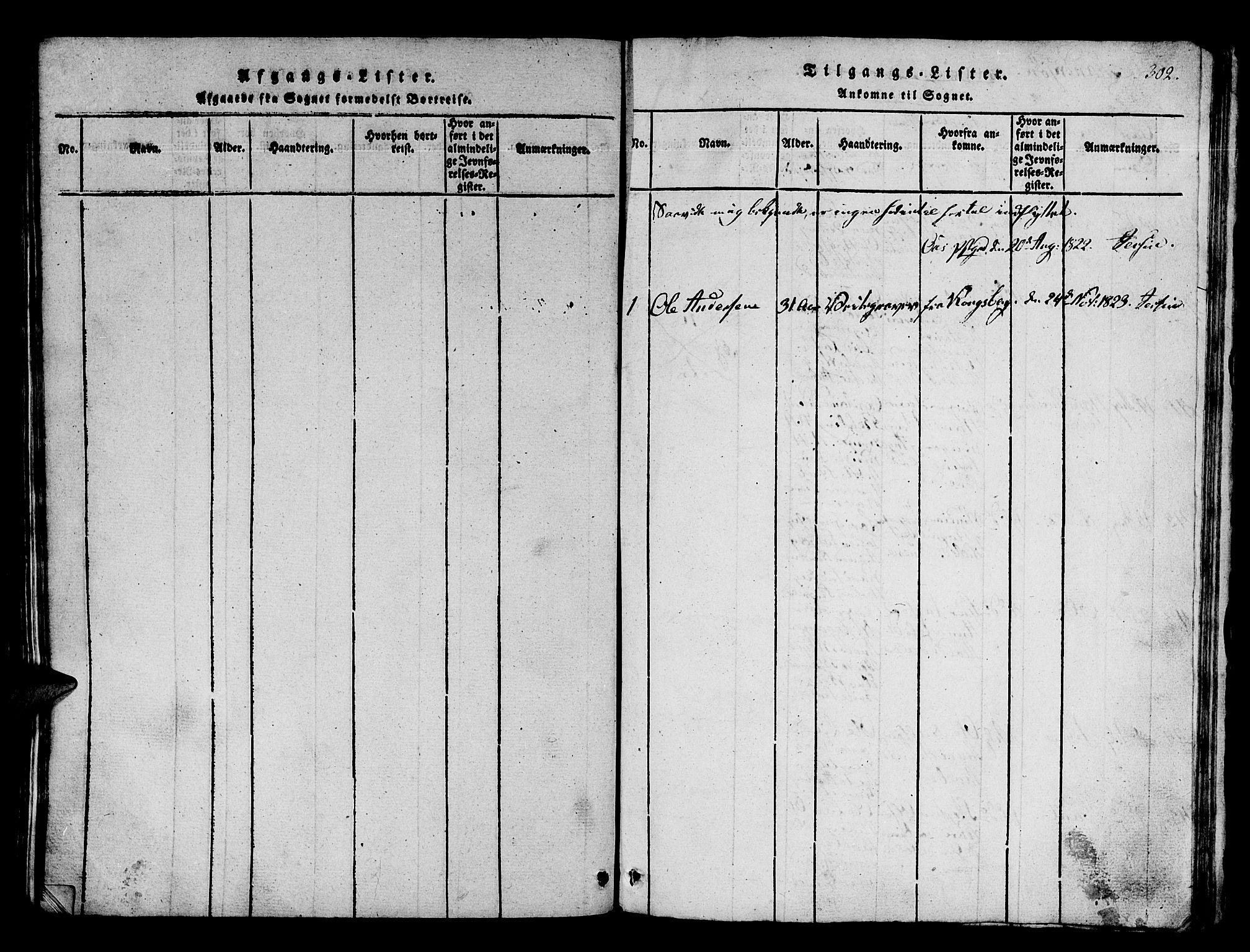 SAB, Os sokneprestembete*, Parish register (official) no. A 12, 1816-1825, p. 302