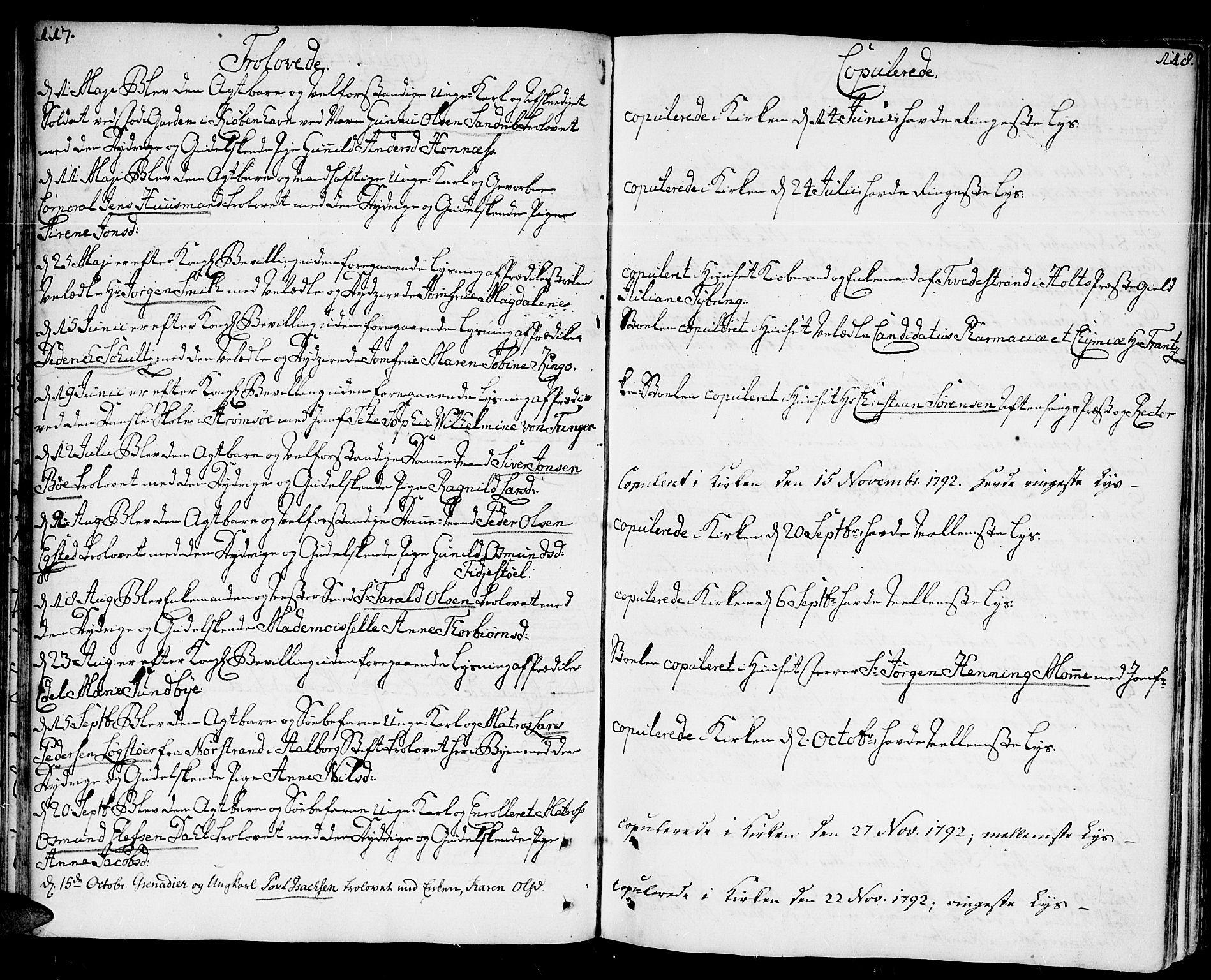 SAK, Kristiansand domprosti, F/Fa/L0005: Parish register (official) no. A 5, 1776-1818, p. 117-118