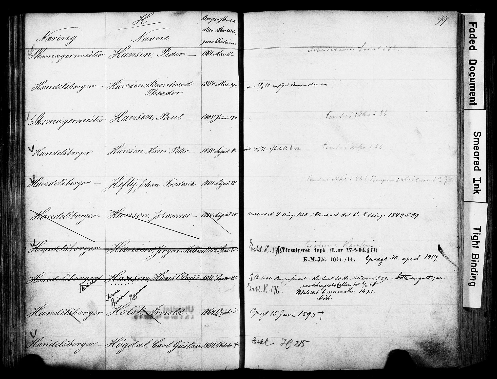 SAO, Kristiania magistrat, F/Fb/L0004: Borgerrulle, 1860-1879, p. 101