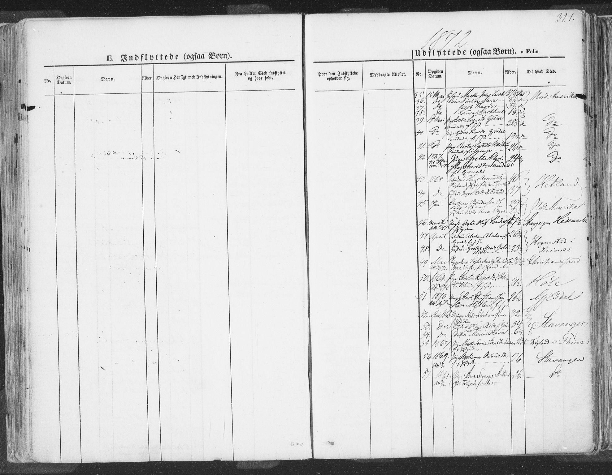 SAST, Høyland sokneprestkontor, 30BA/L0009: Parish register (official) no. A 9.2, 1857-1877, p. 321
