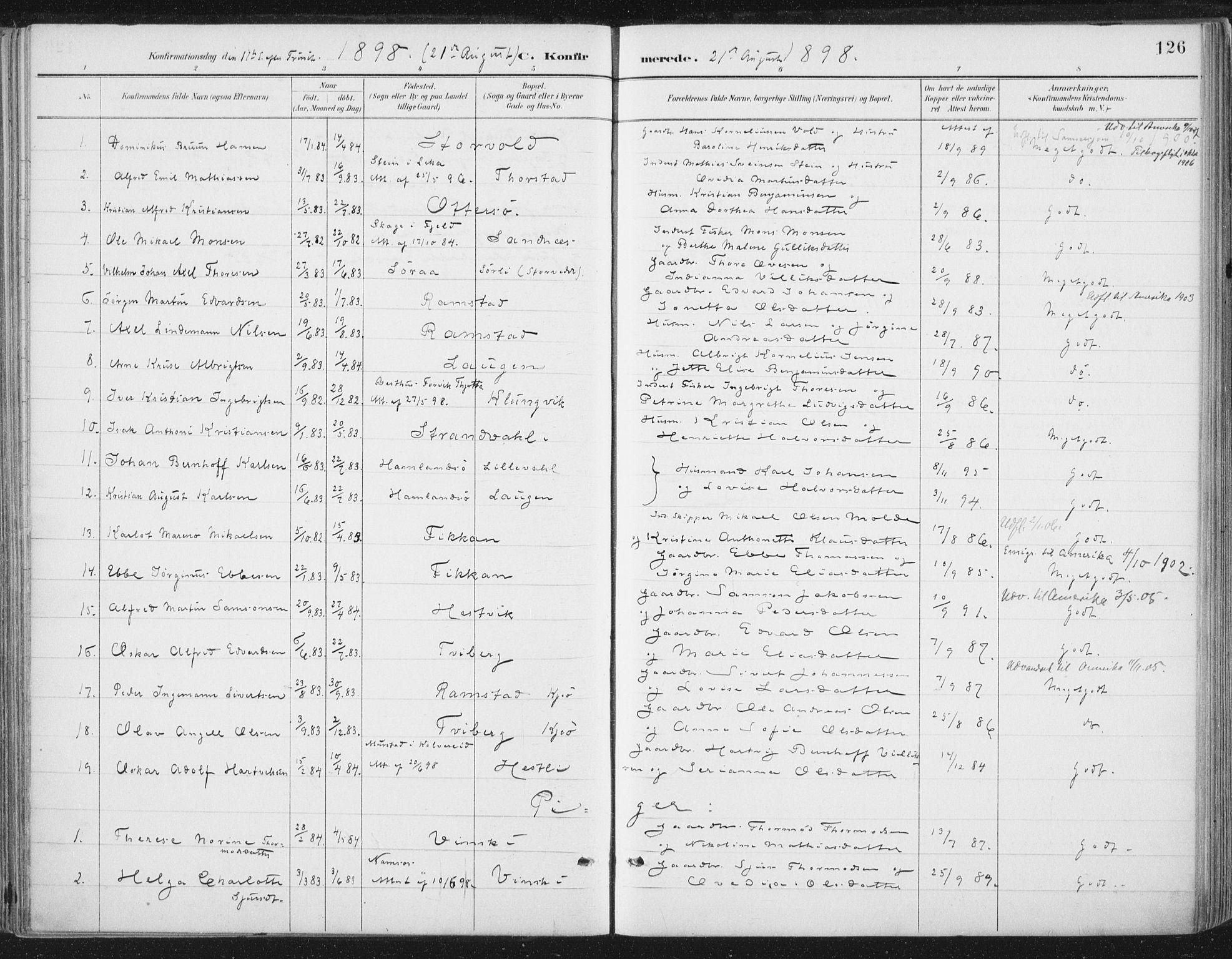 SAT, Ministerialprotokoller, klokkerbøker og fødselsregistre - Nord-Trøndelag, 784/L0673: Parish register (official) no. 784A08, 1888-1899, p. 126