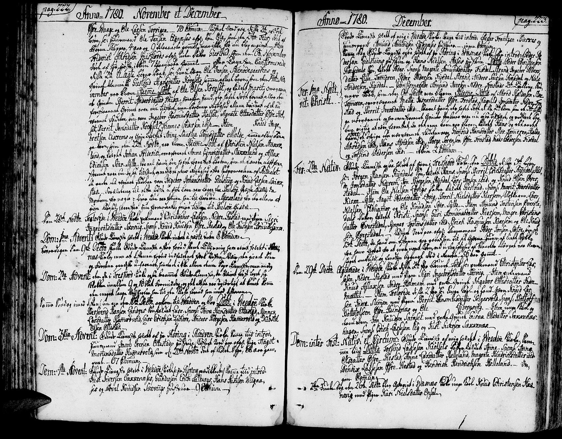 SAT, Ministerialprotokoller, klokkerbøker og fødselsregistre - Møre og Romsdal, 547/L0600: Parish register (official) no. 547A02, 1765-1799, p. 222-223