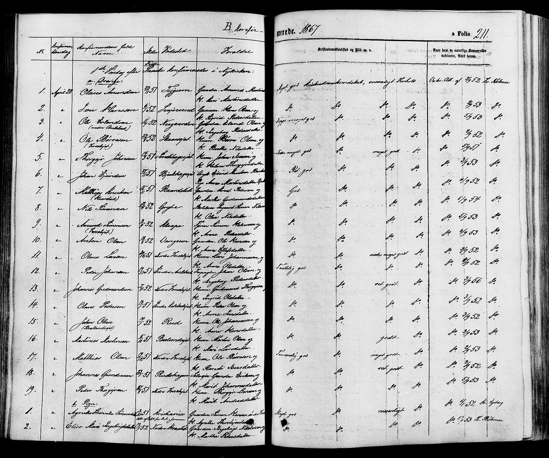 SAH, Gausdal prestekontor, Parish register (official) no. 10, 1867-1886, p. 211