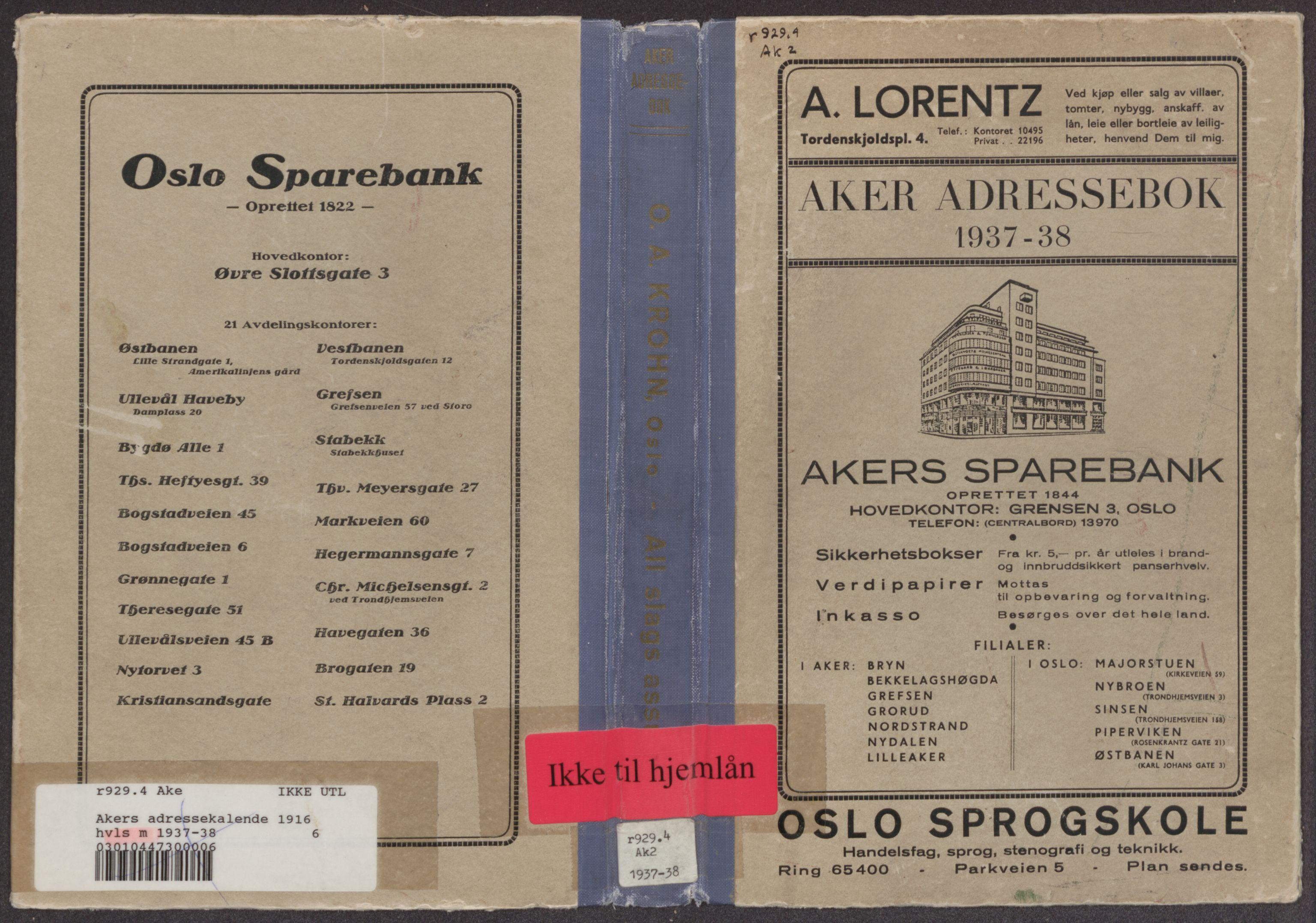 RA, Aker adressebok/adressekalender (publikasjon)*, 1937-1938