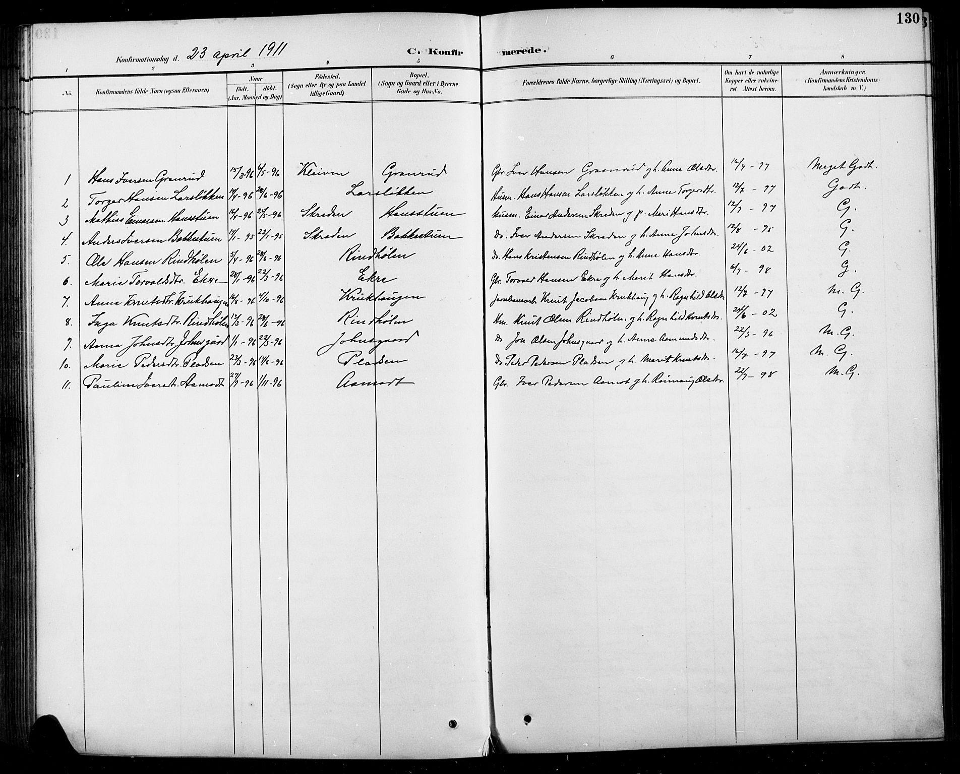 SAH, Sel prestekontor, Parish register (copy) no. 5, 1894-1923, p. 130