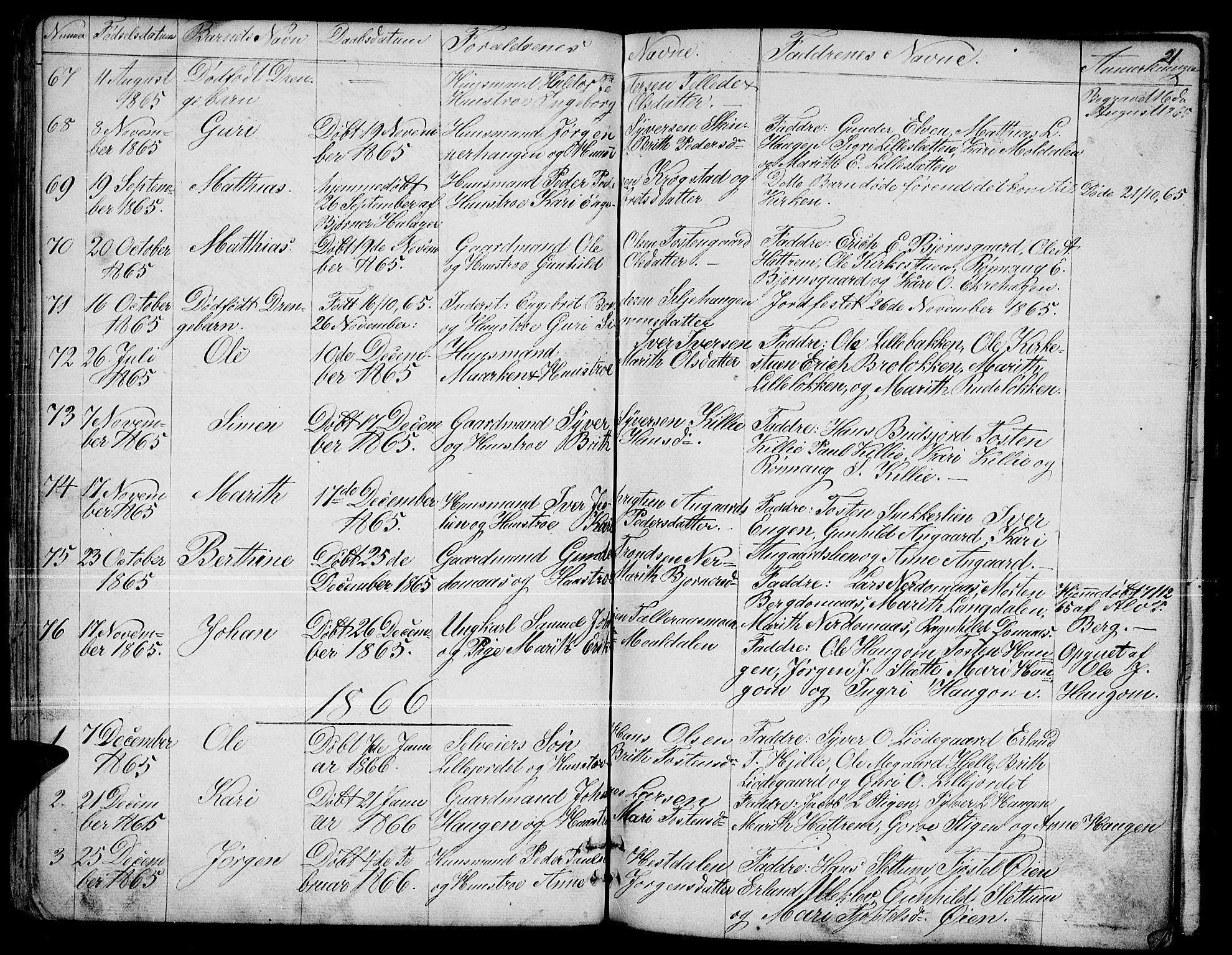 SAH, Dovre prestekontor, Parish register (copy) no. 1, 1862-1880, p. 21