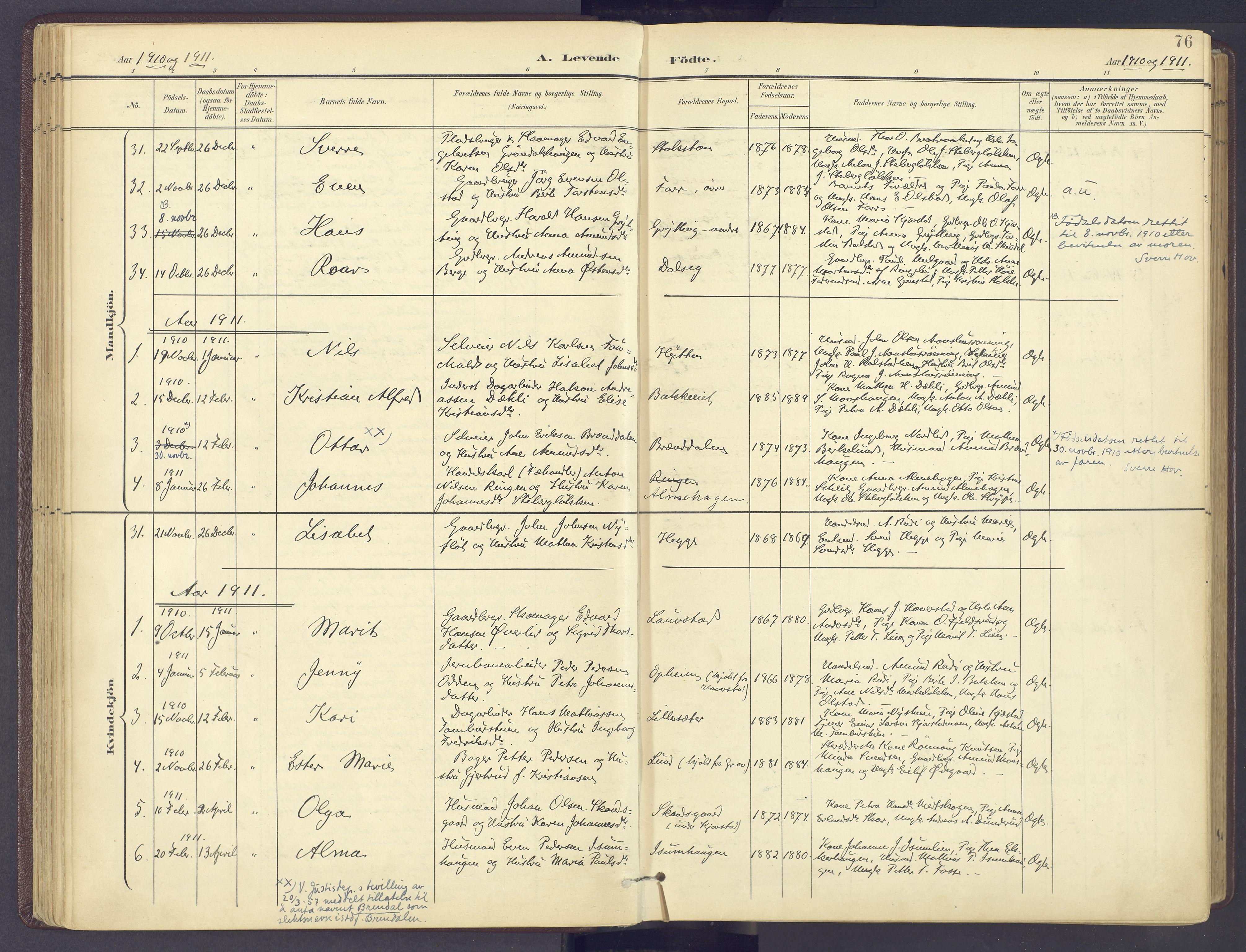 SAH, Sør-Fron prestekontor, H/Ha/Haa/L0004: Parish register (official) no. 4, 1898-1919, p. 76