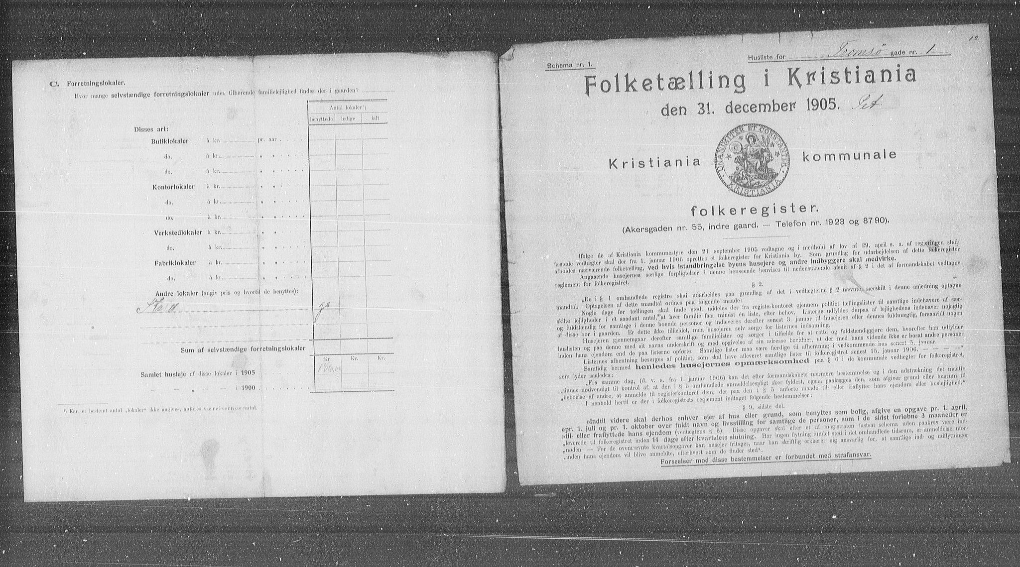 OBA, Municipal Census 1905 for Kristiania, 1905, p. 60686