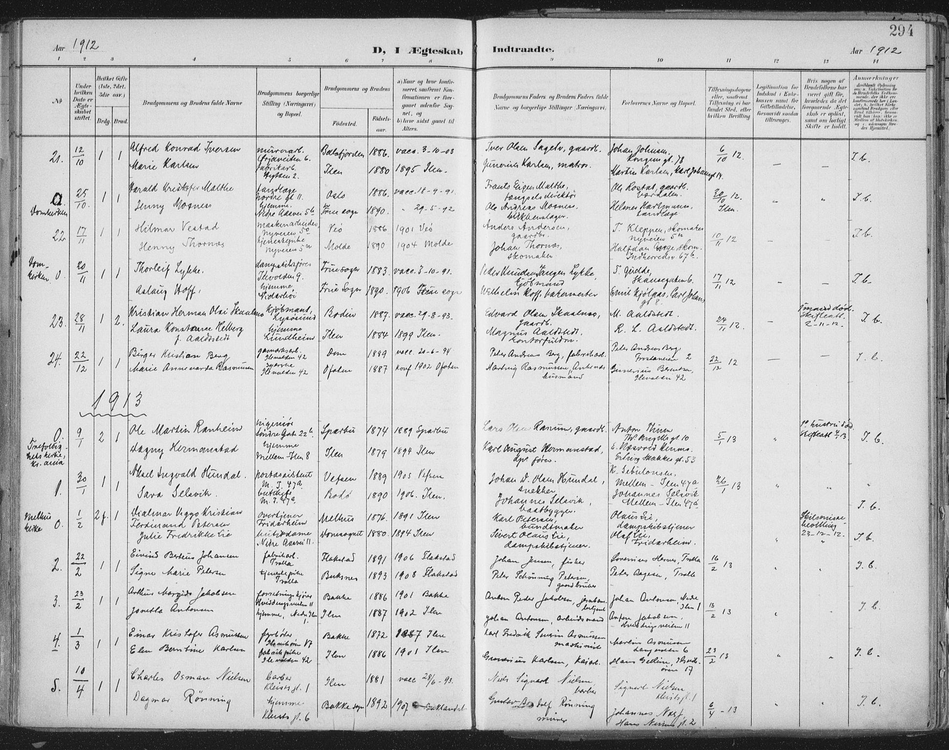 SAT, Ministerialprotokoller, klokkerbøker og fødselsregistre - Sør-Trøndelag, 603/L0167: Parish register (official) no. 603A06, 1896-1932, p. 294