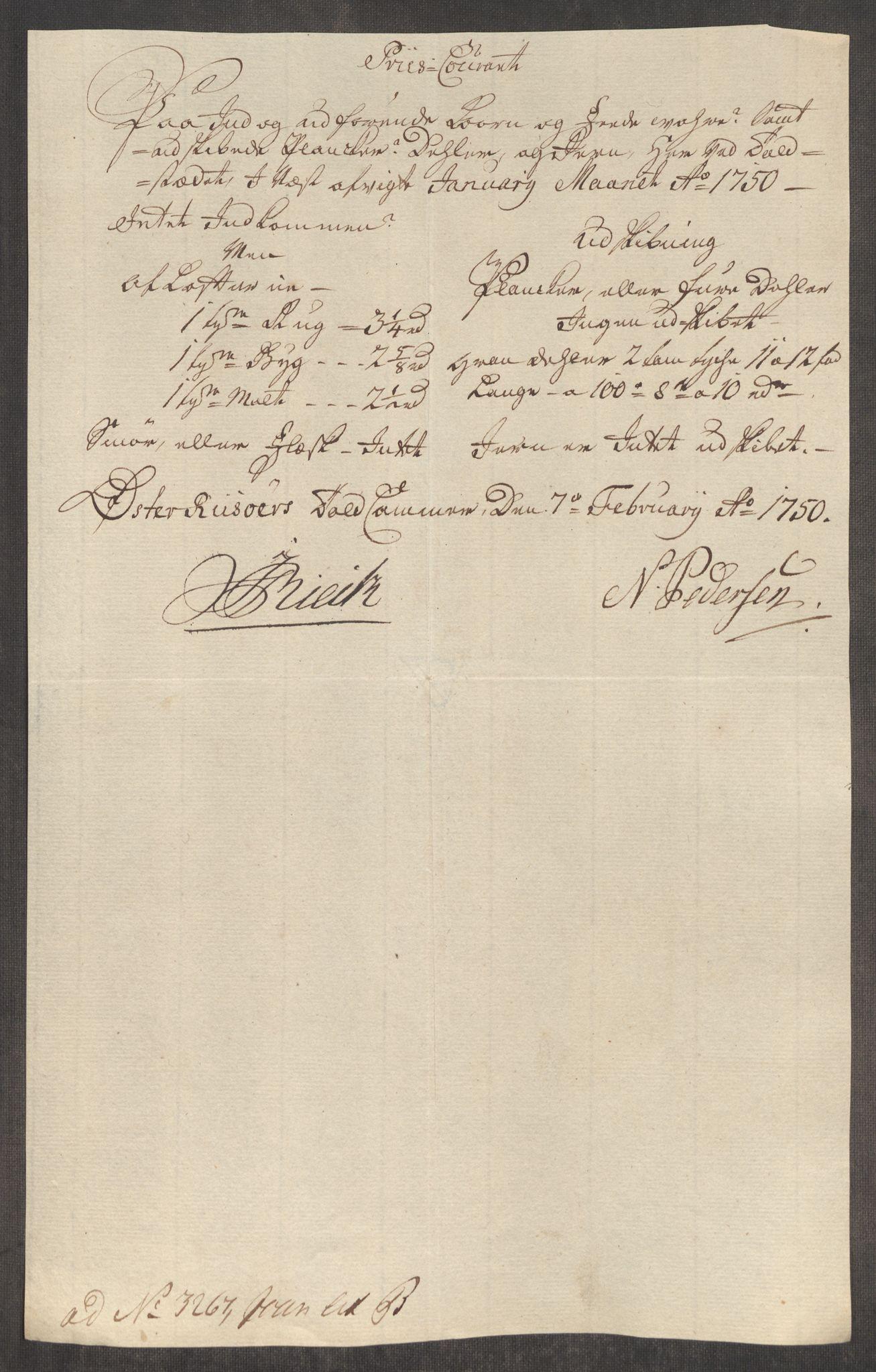 RA, Rentekammeret inntil 1814, Realistisk ordnet avdeling, Oe/L0004: [Ø1]: Priskuranter, 1749-1752, p. 384