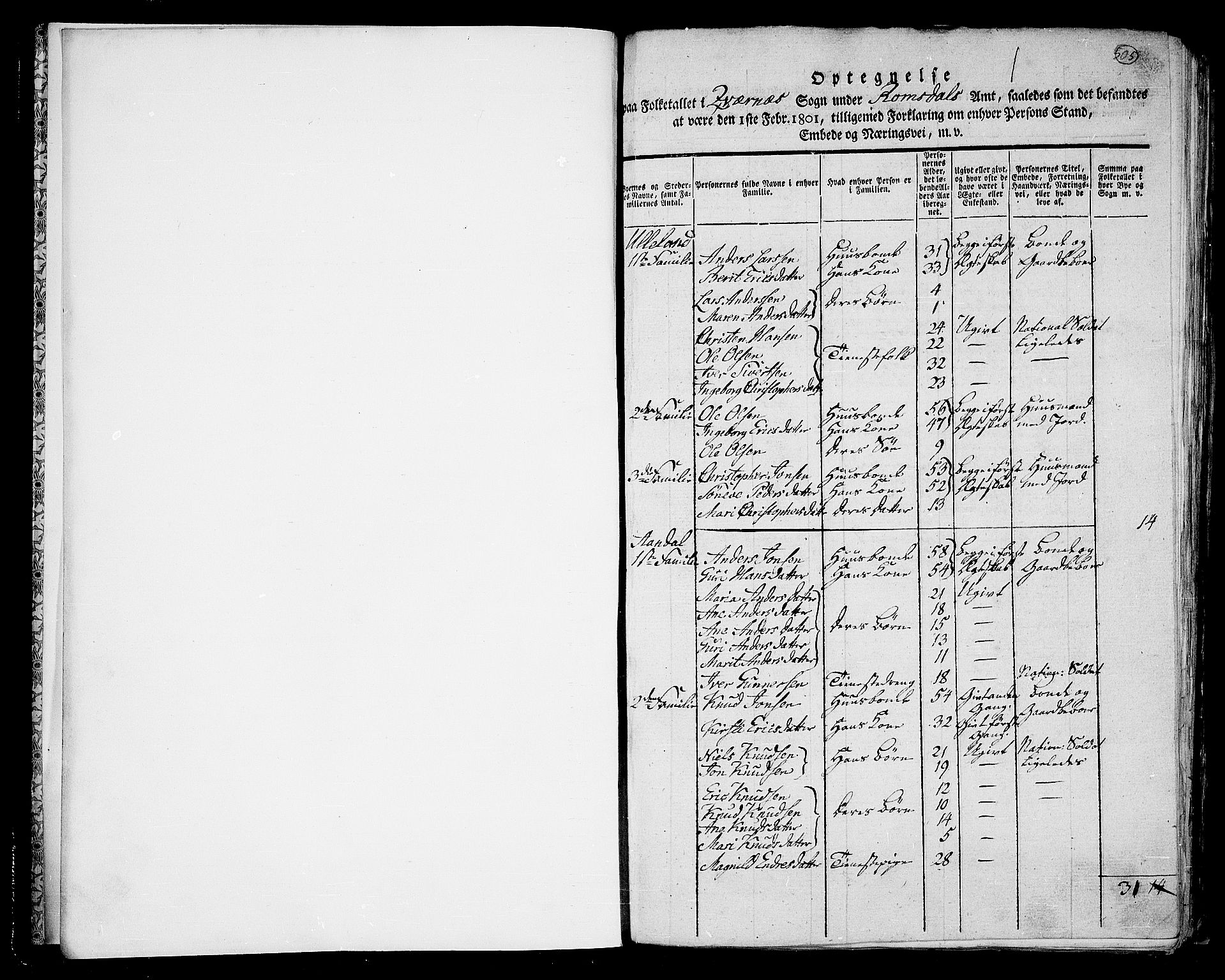 RA, 1801 census for 1553P Kvernes, 1801, p. 505a