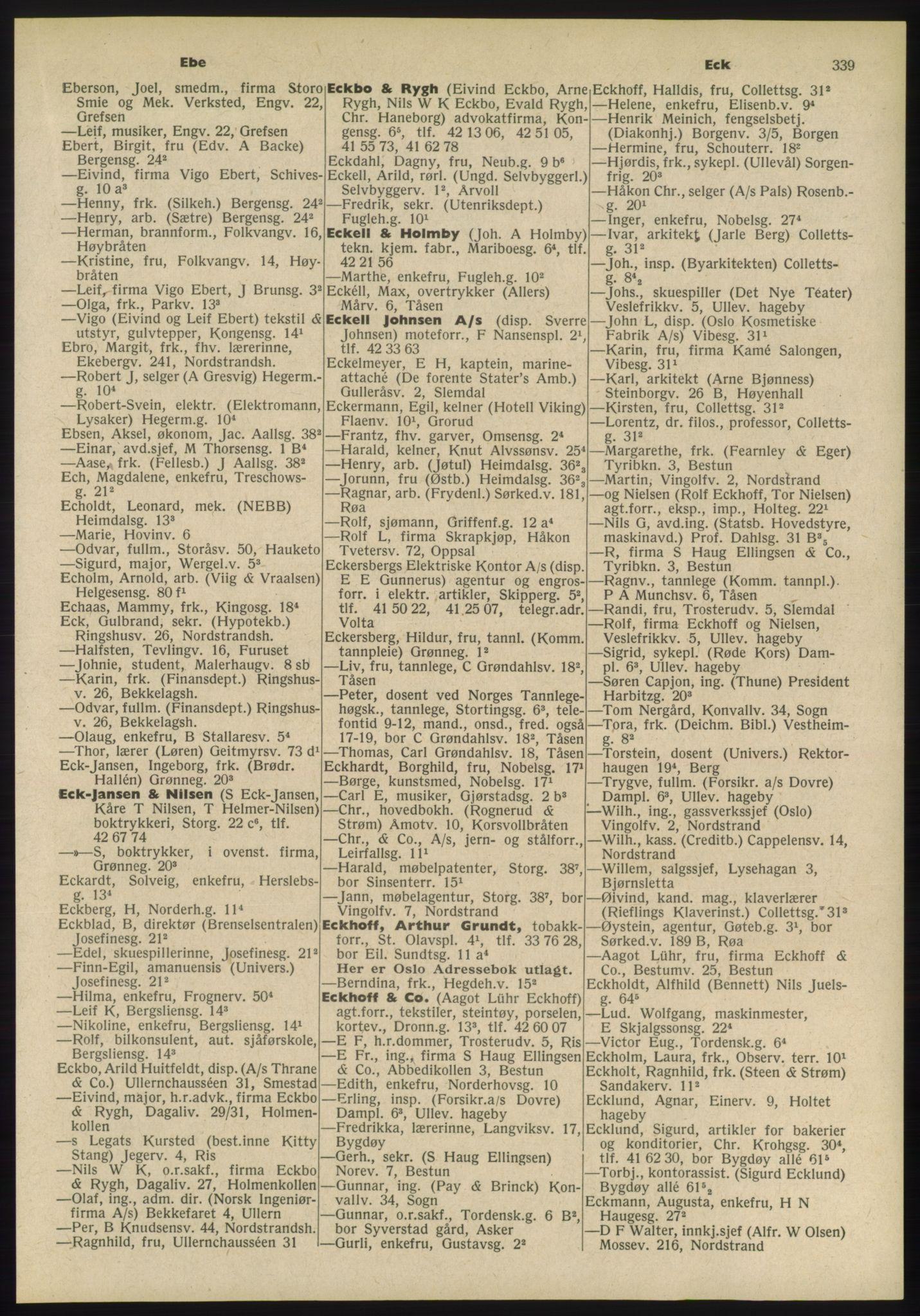 PUBL, Kristiania/Oslo adressebok, 1955, p. 339