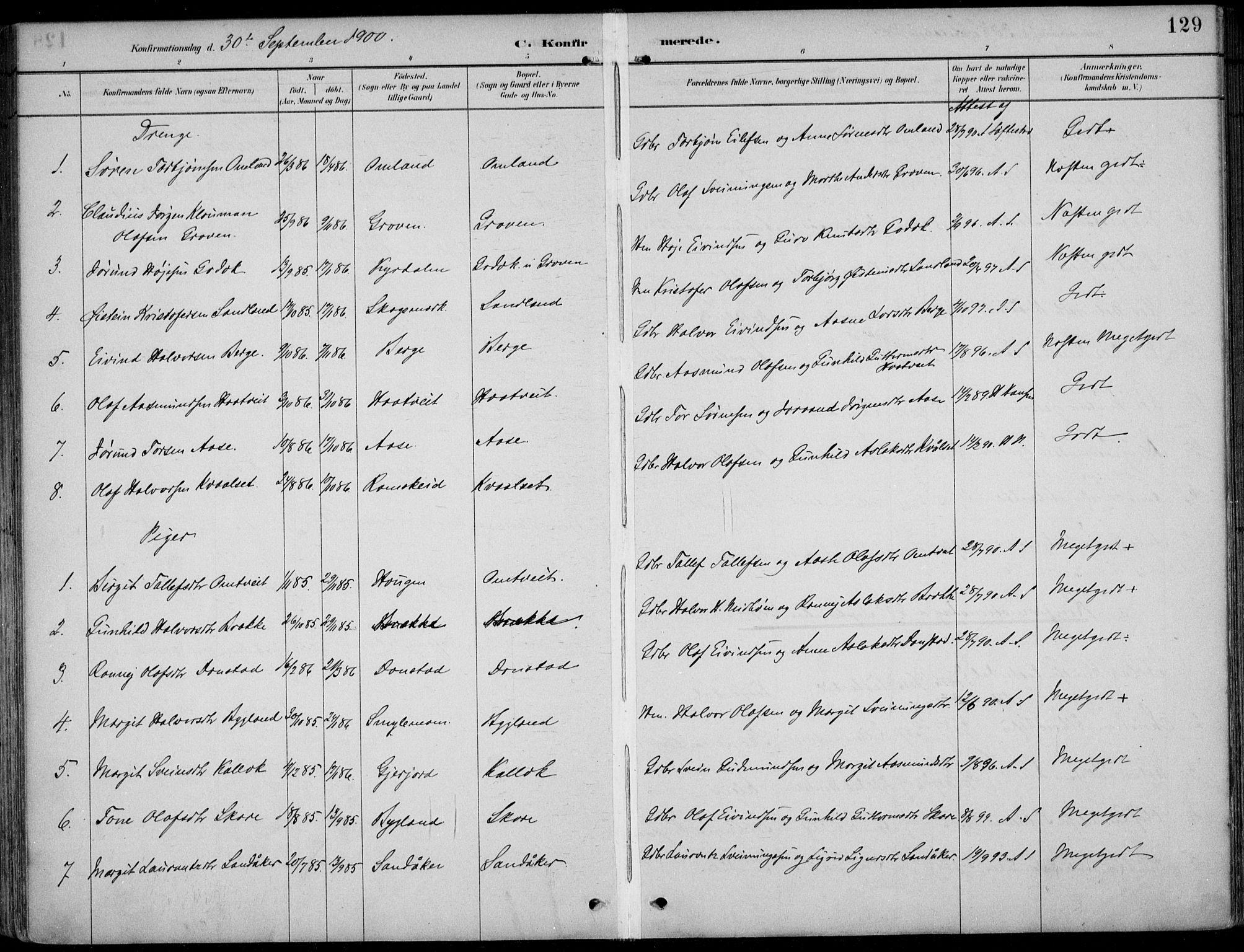 SAKO, Kviteseid kirkebøker, F/Fb/L0002: Parish register (official) no. II 2, 1882-1916, p. 129