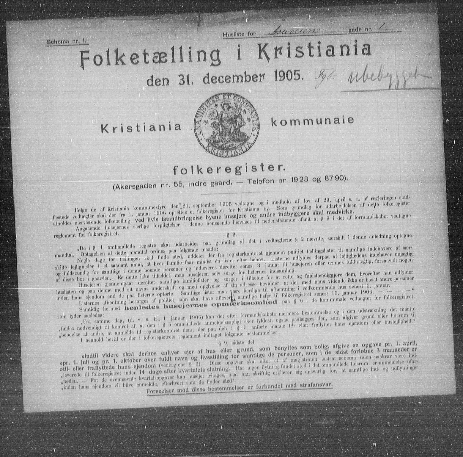 OBA, Municipal Census 1905 for Kristiania, 1905, p. 68820