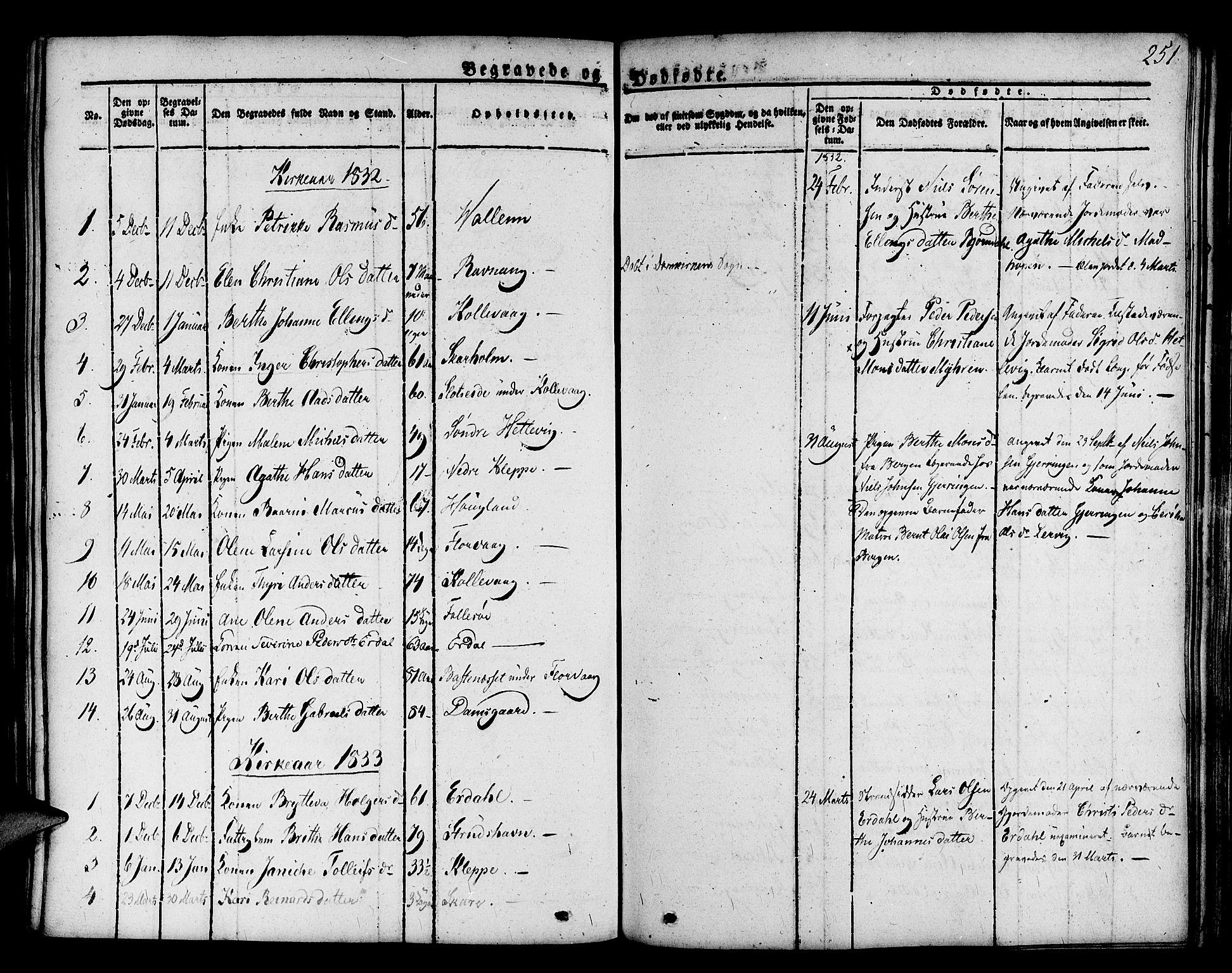 SAB, Askøy Sokneprestembete, H/Ha/Haa/Haaa/L0004: Parish register (official) no. A 4, 1825-1845, p. 251