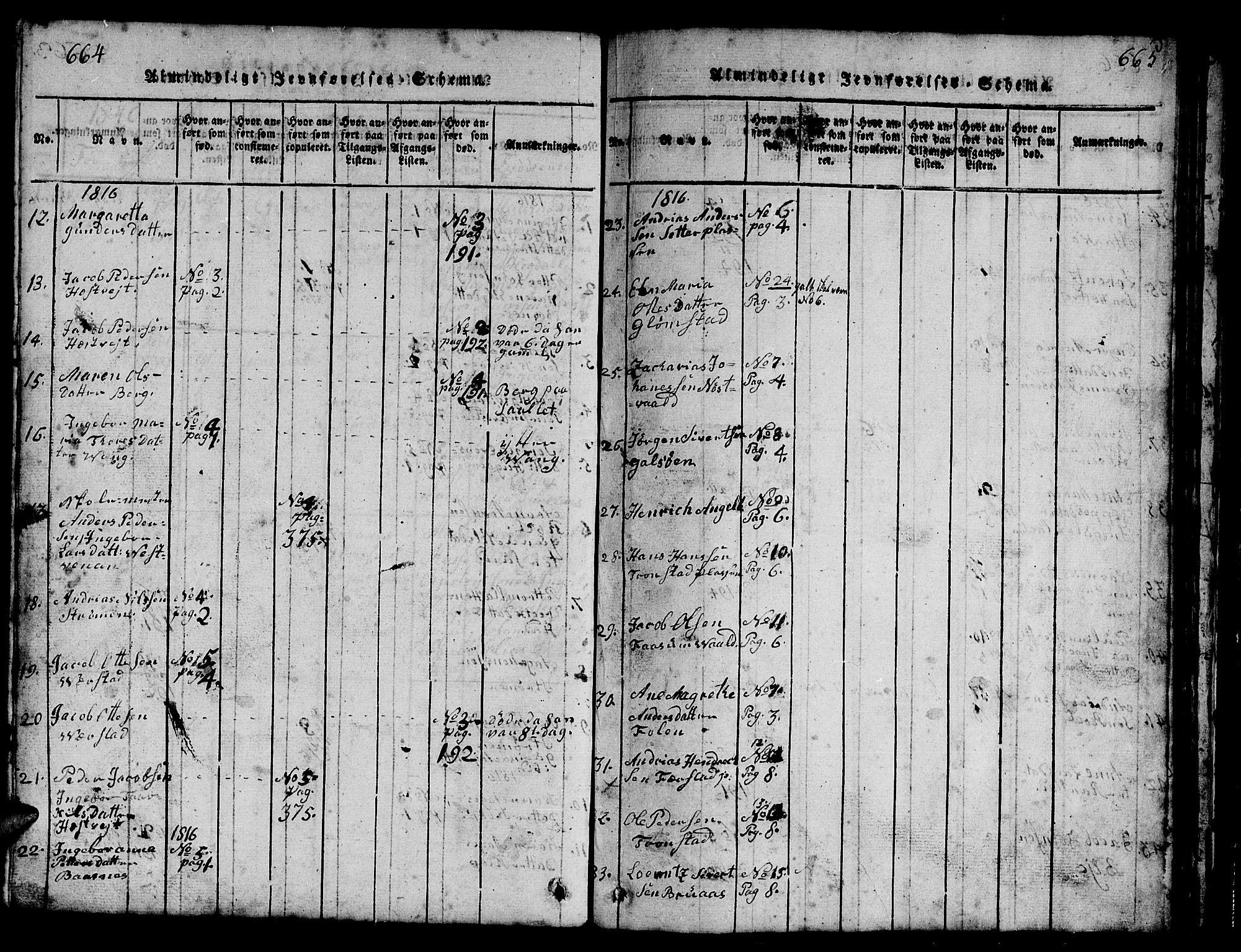 SAT, Ministerialprotokoller, klokkerbøker og fødselsregistre - Nord-Trøndelag, 730/L0298: Parish register (copy) no. 730C01, 1816-1849, p. 664-665