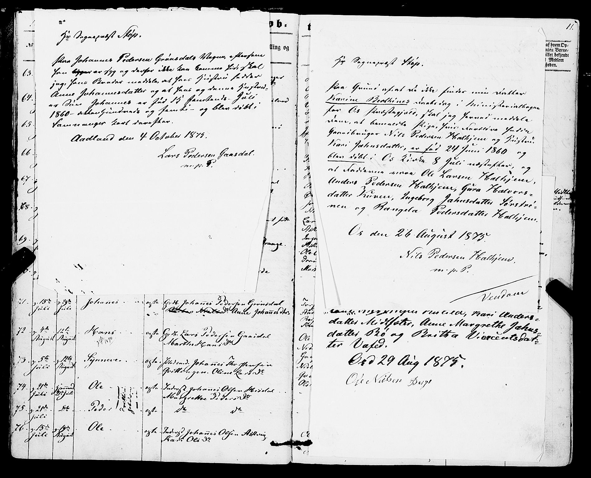 SAB, Os sokneprestembete*, Parish register (official) no. A 17, 1860-1873, p. 11