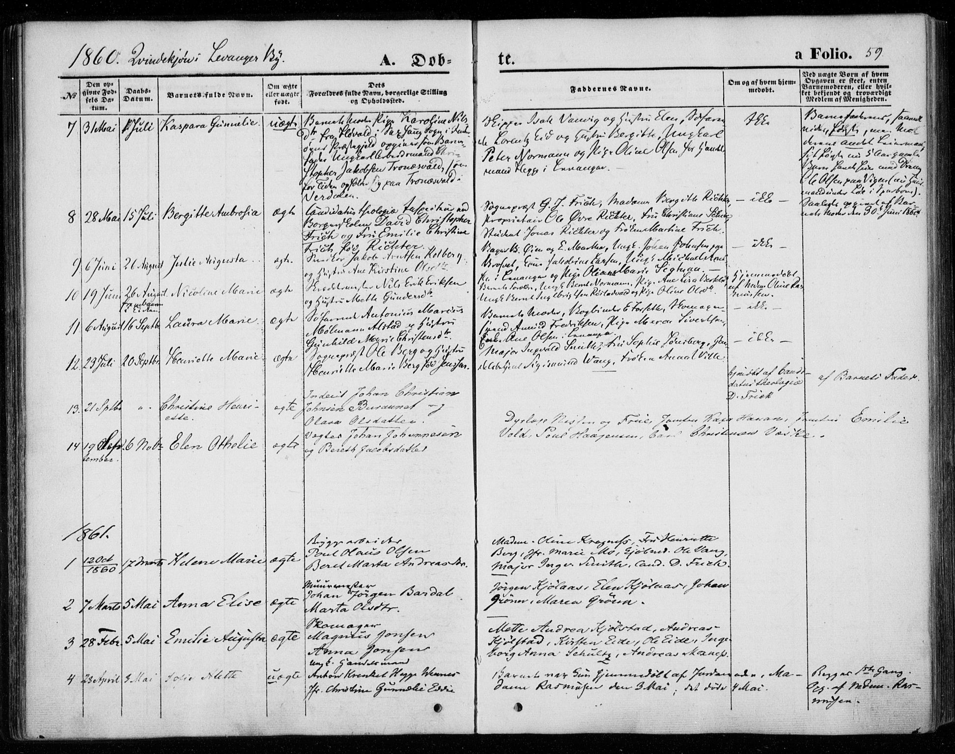 SAT, Ministerialprotokoller, klokkerbøker og fødselsregistre - Nord-Trøndelag, 720/L0184: Parish register (official) no. 720A02 /1, 1855-1863, p. 59