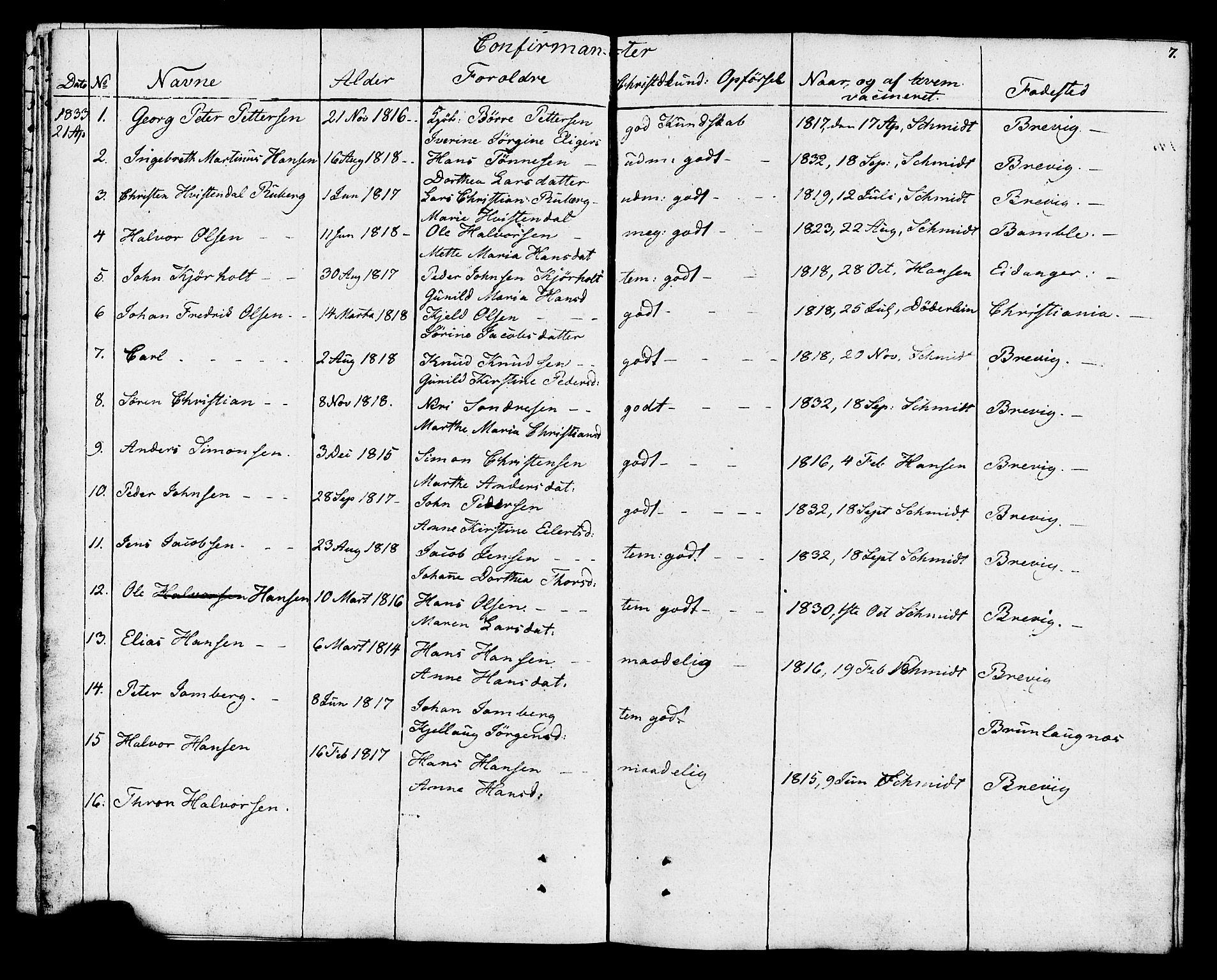 SAKO, Eidanger kirkebøker, F/Fa/L0009: Parish register (official) no. 9, 1831-1849, p. 7