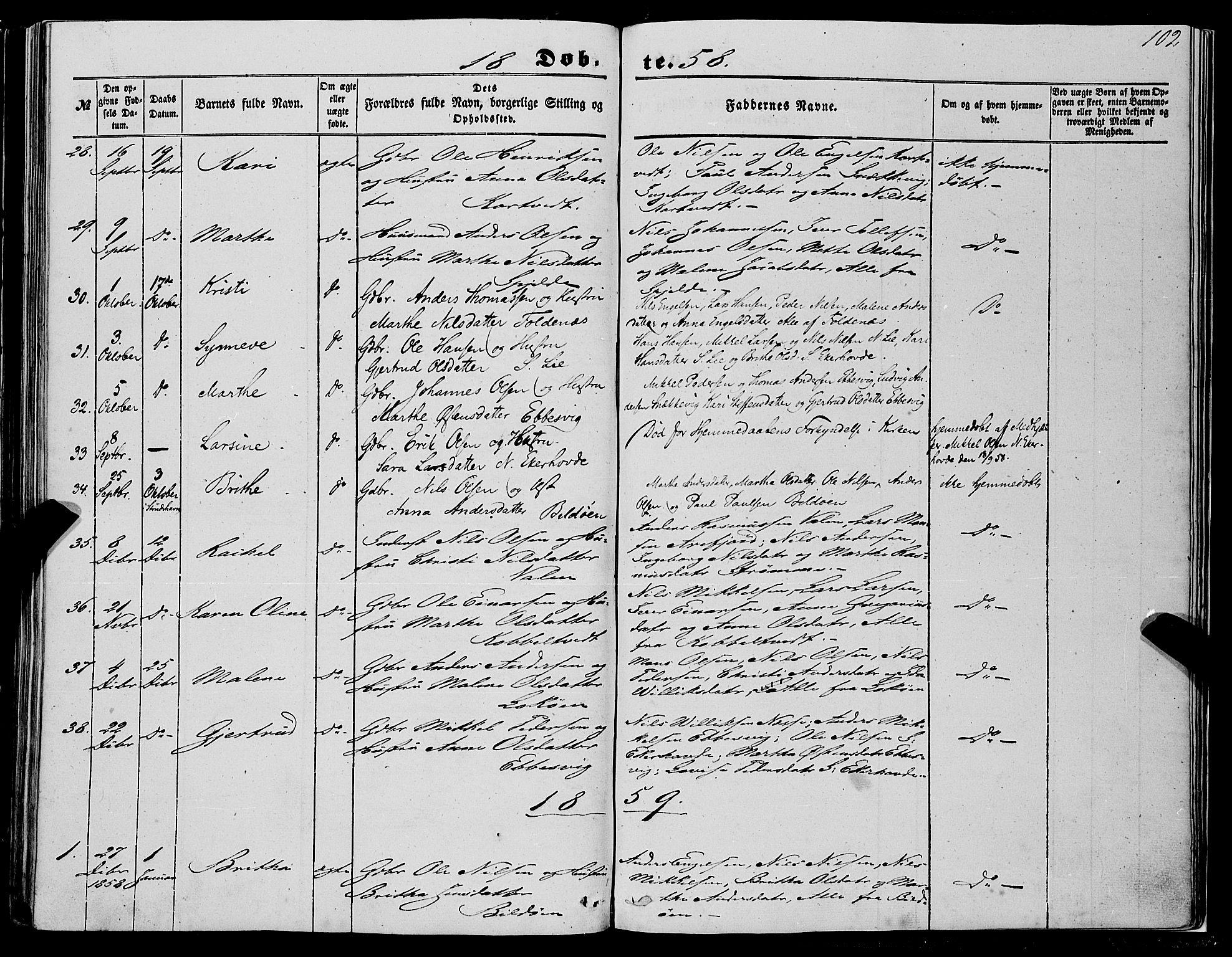 SAB, Fjell Sokneprestembete, H/Haa: Parish register (official) no. A 2, 1847-1864, p. 102