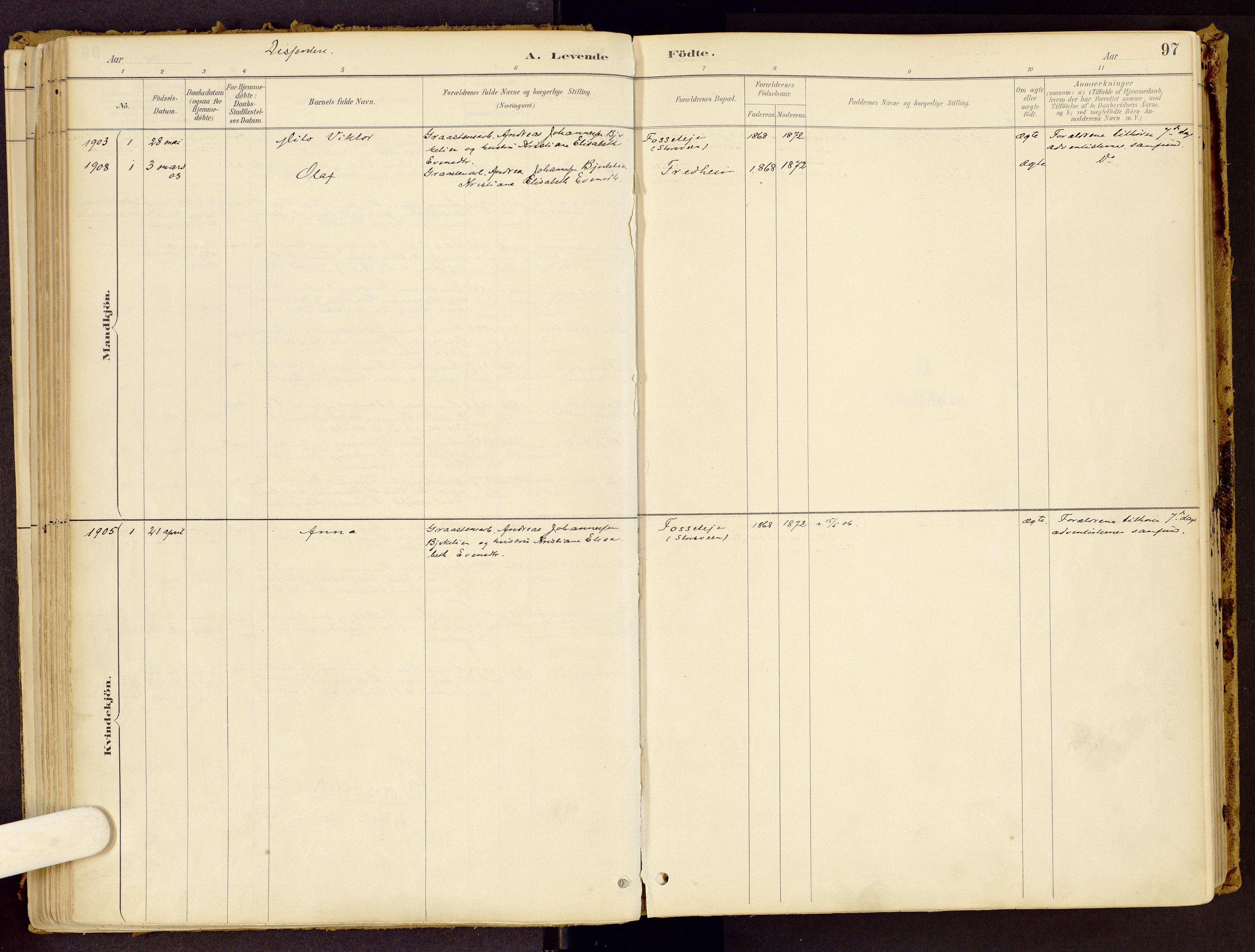 SAH, Vestre Gausdal prestekontor, Parish register (official) no. 1, 1887-1914, p. 97