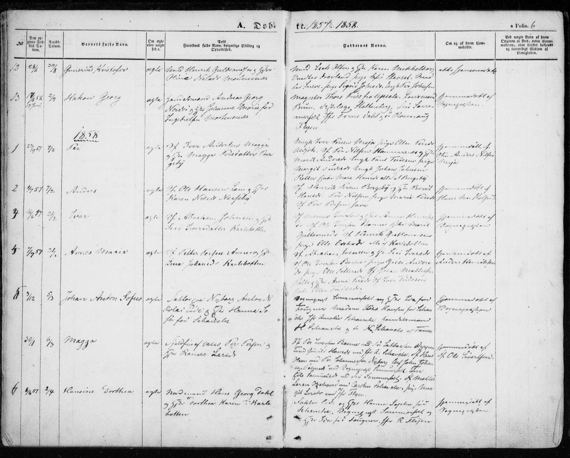 SATØ, Nesseby sokneprestkontor, H/Ha/L0002kirke: Parish register (official) no. 2, 1856-1864, p. 6