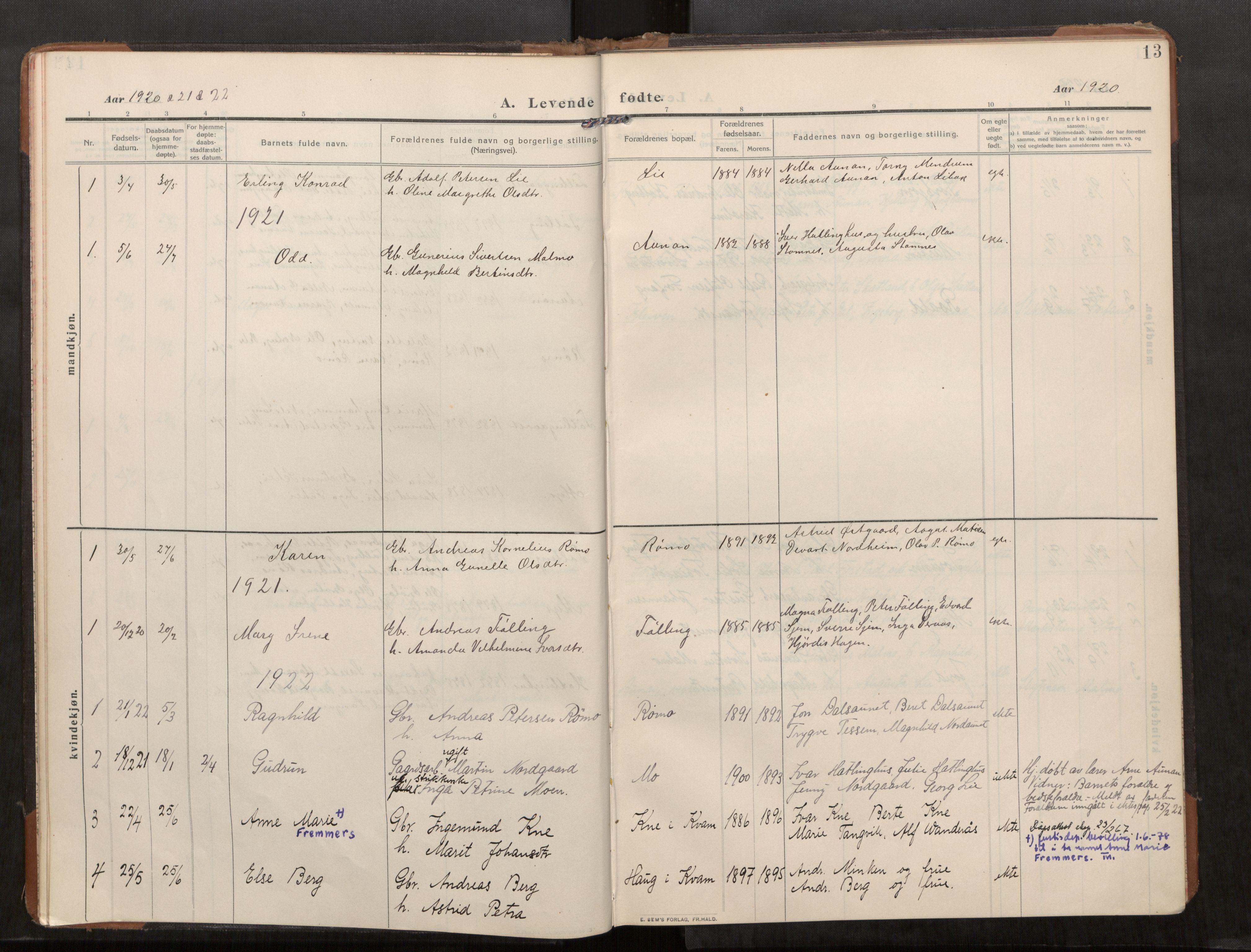 SAT, Stod sokneprestkontor, I/I1/I1a/L0003: Parish register (official) no. 3, 1909-1934, p. 13