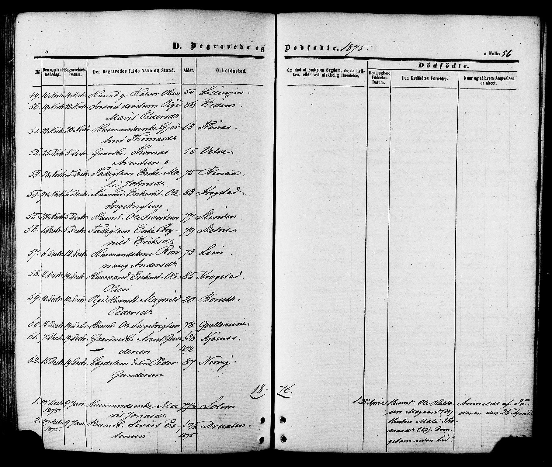 SAT, Ministerialprotokoller, klokkerbøker og fødselsregistre - Sør-Trøndelag, 695/L1147: Parish register (official) no. 695A07, 1860-1877, p. 56