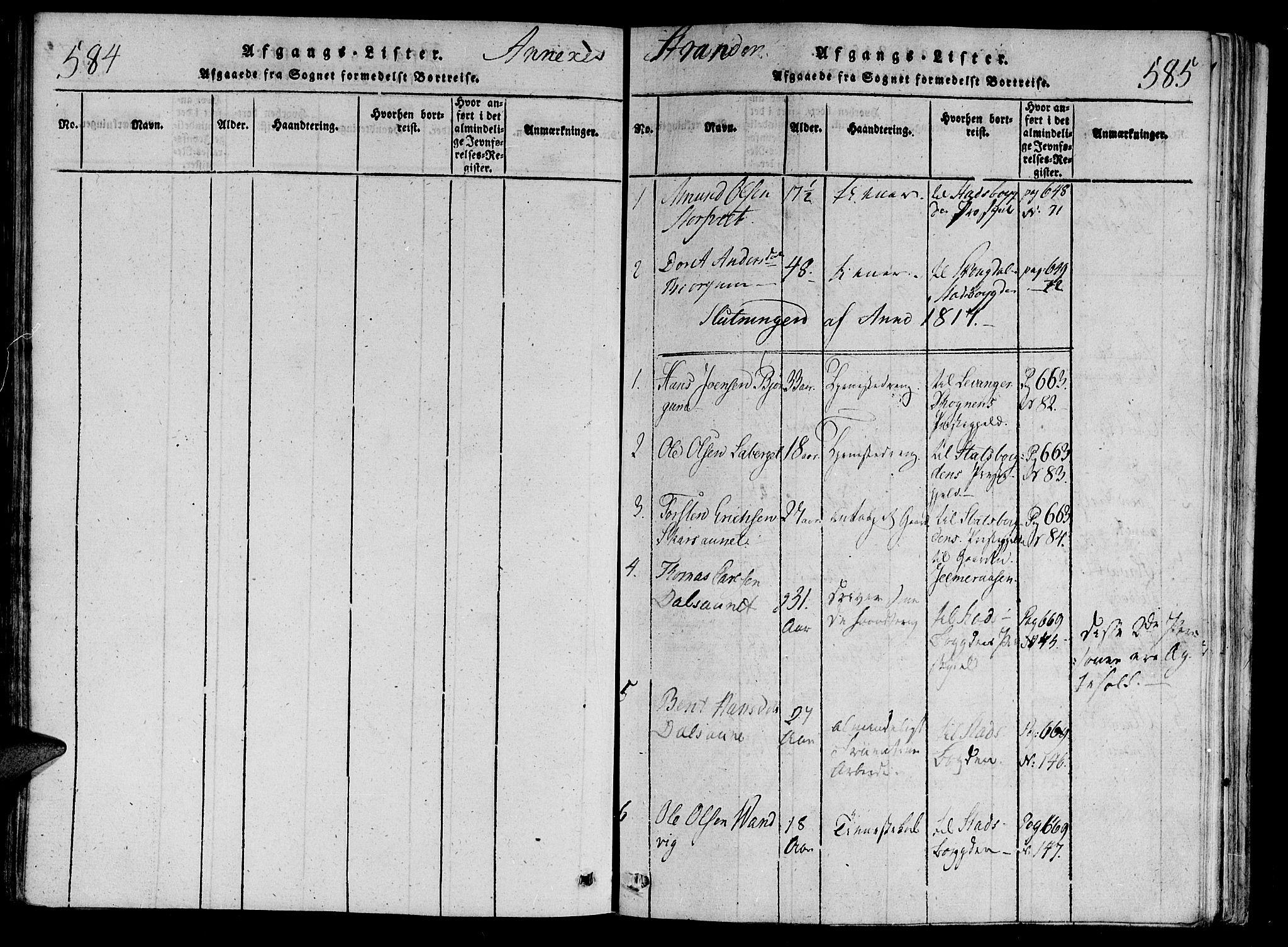 SAT, Ministerialprotokoller, klokkerbøker og fødselsregistre - Nord-Trøndelag, 701/L0005: Parish register (official) no. 701A05 /2, 1816-1825, p. 584-585