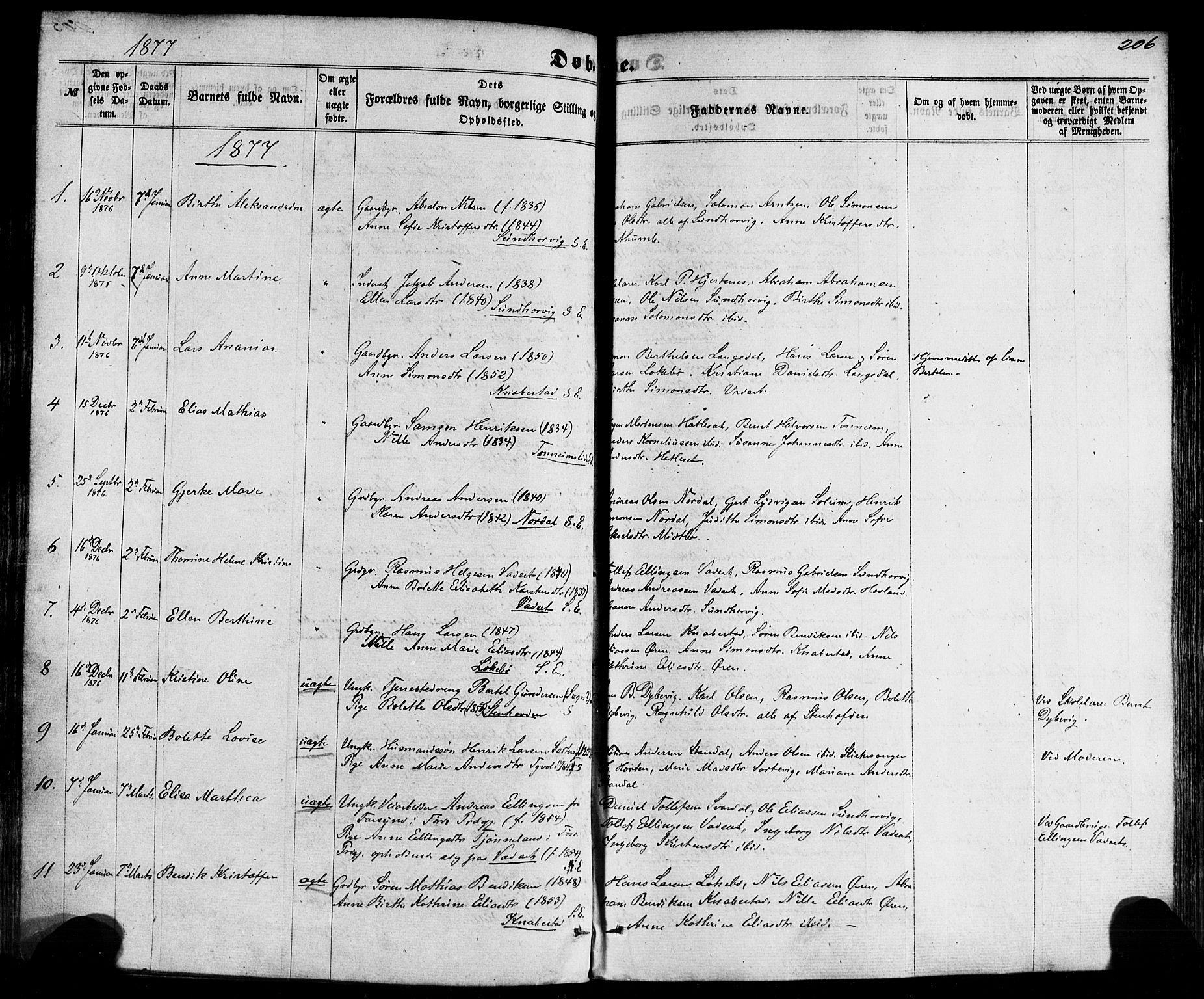SAB, Kinn sokneprestembete, H/Haa/Haaa/L0006: Parish register (official) no. A 6, 1857-1885, p. 206