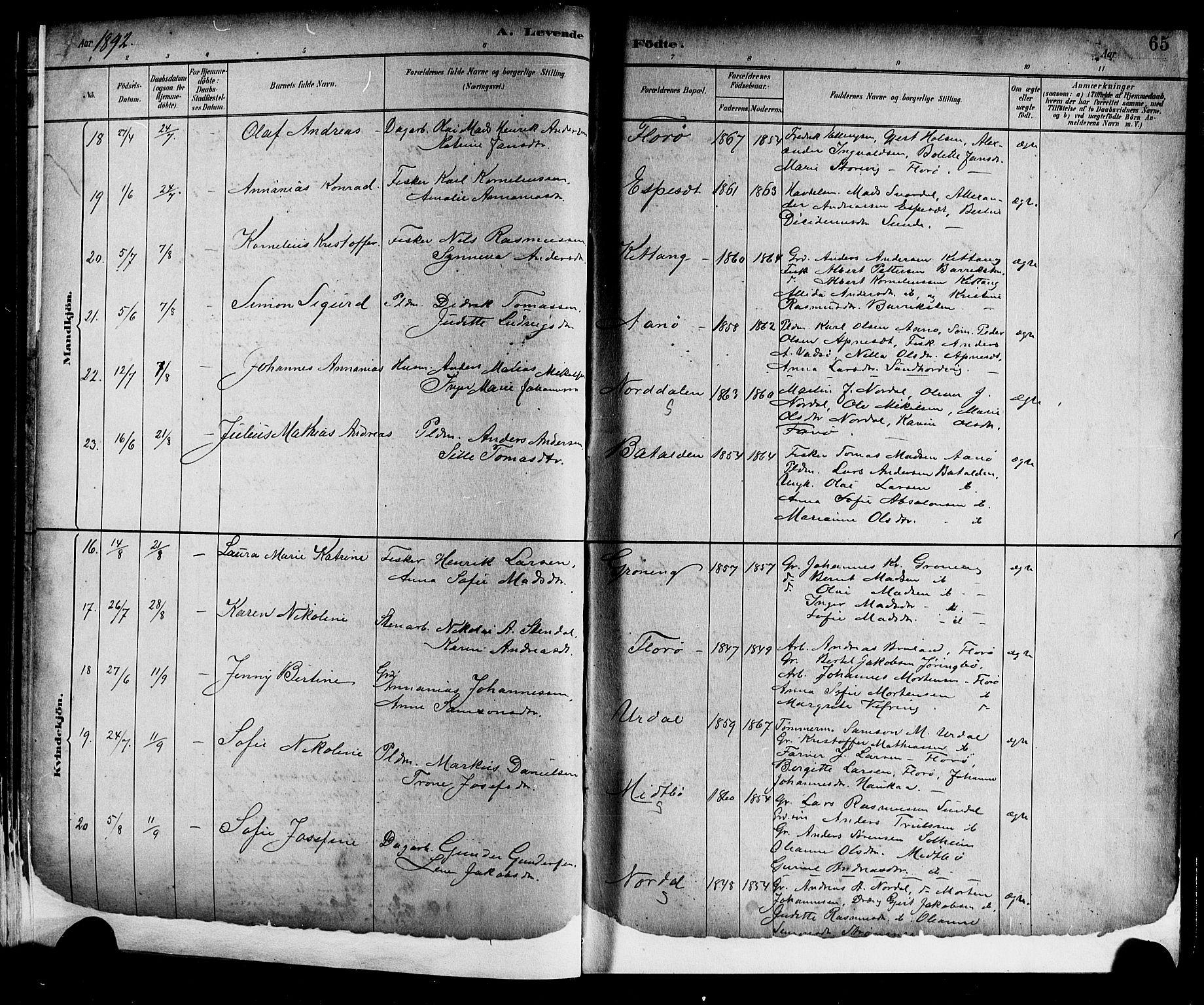 SAB, Kinn Sokneprestembete, Parish register (copy) no. A 2, 1882-1906, p. 65