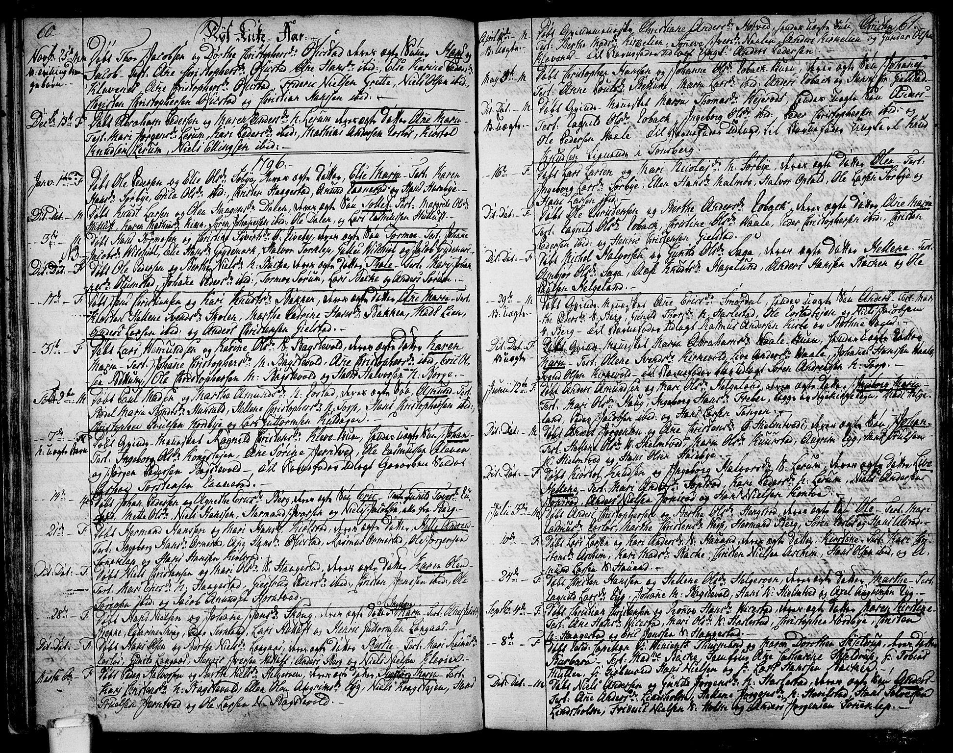 SAKO, Våle kirkebøker, F/Fa/L0005: Parish register (official) no. I 5, 1773-1808, p. 60-61