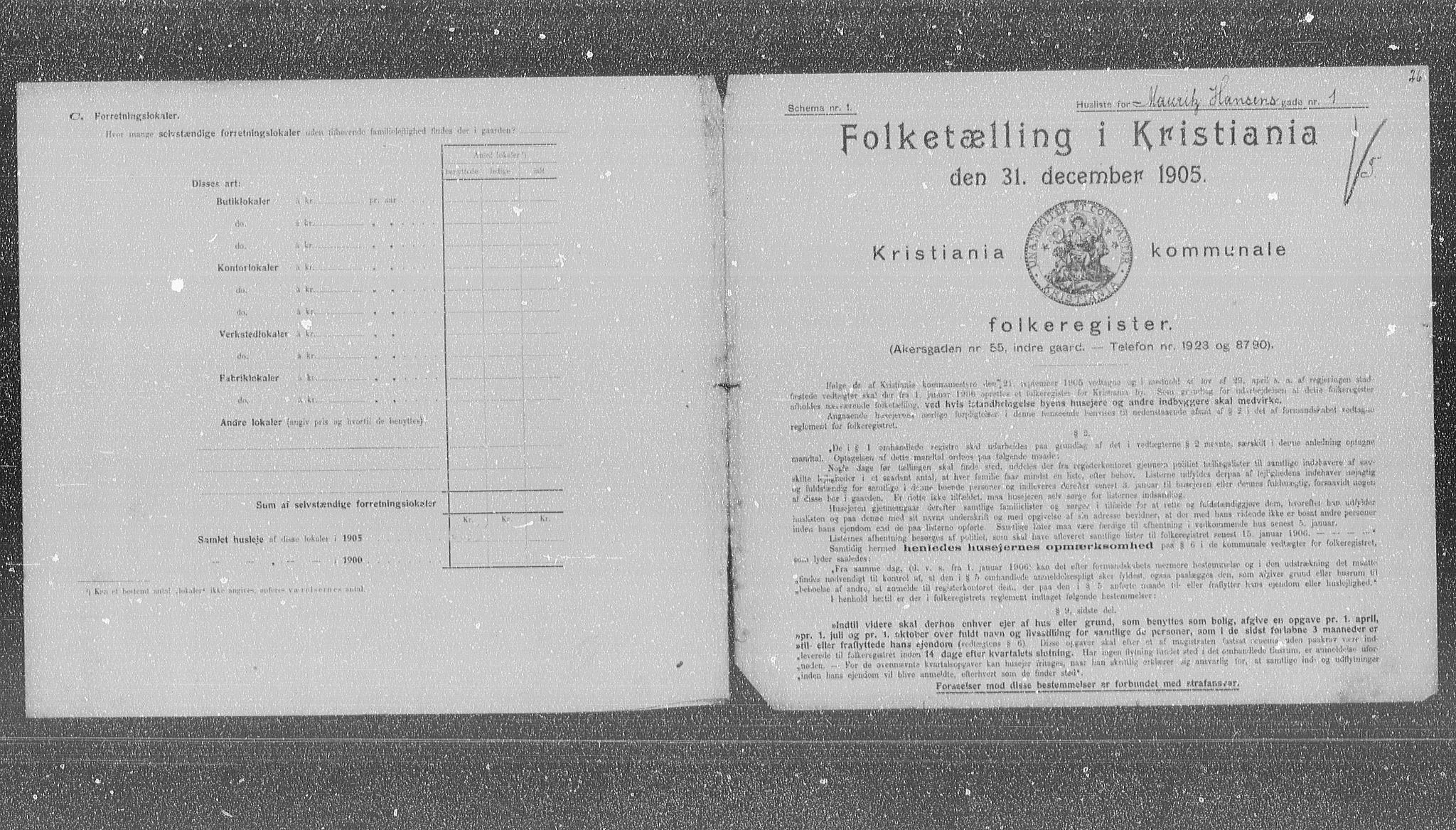 OBA, Municipal Census 1905 for Kristiania, 1905, p. 34045