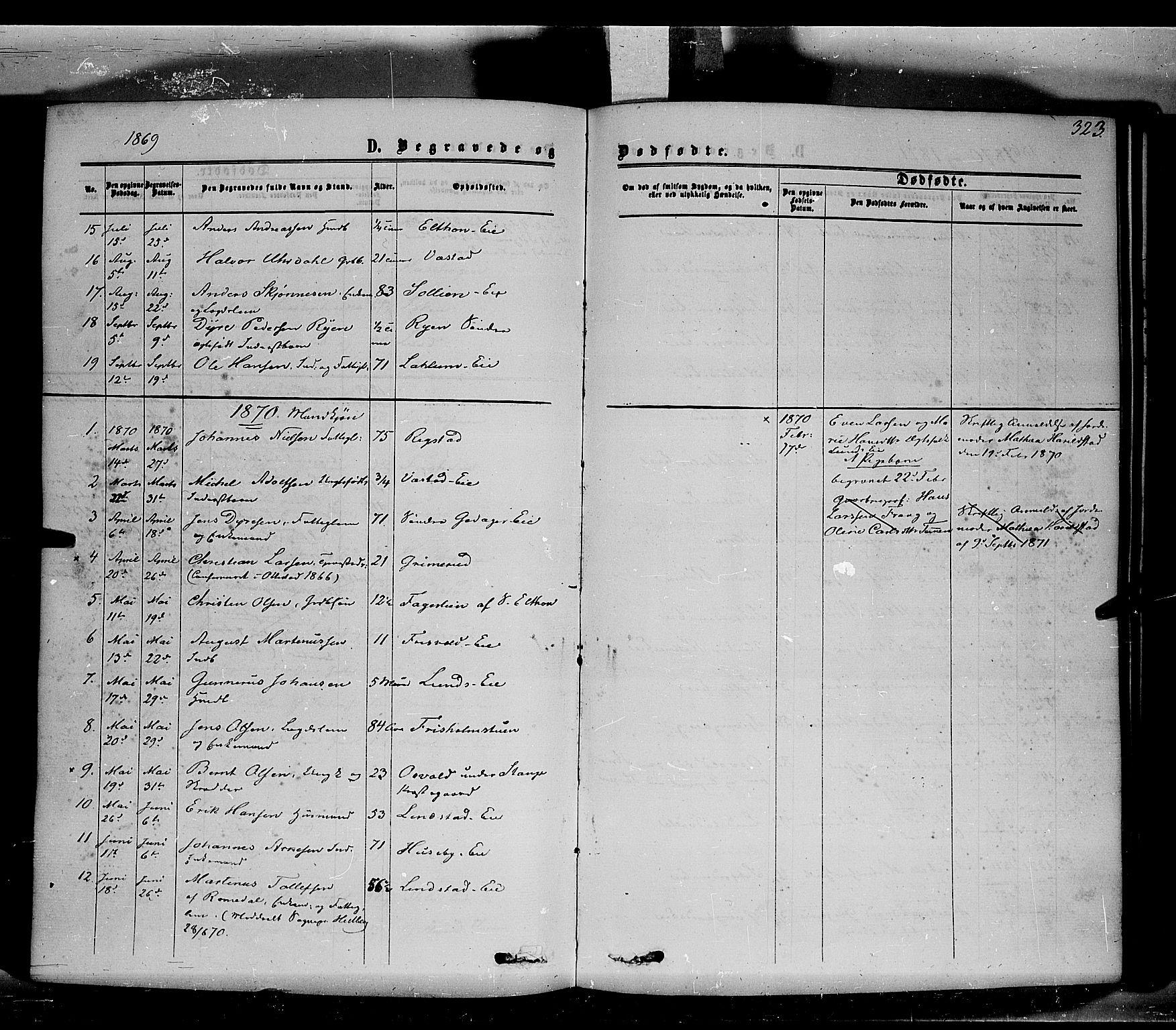 SAH, Stange prestekontor, K/L0013: Parish register (official) no. 13, 1862-1879, p. 323