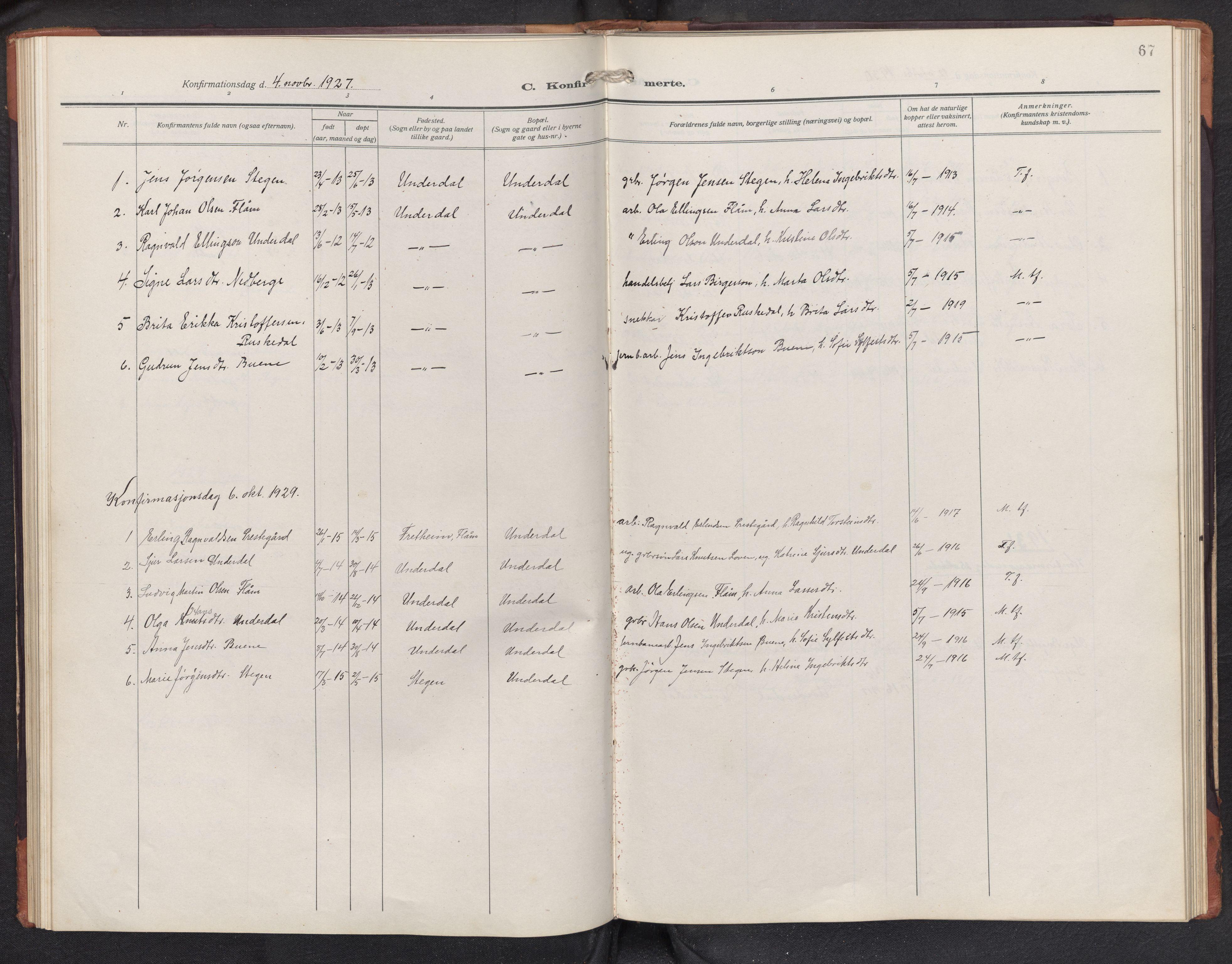 SAB, Aurland sokneprestembete, H/Hb/Hbd/L0003: Parish register (copy) no. D 3, 1920-1968, p. 66b-67a