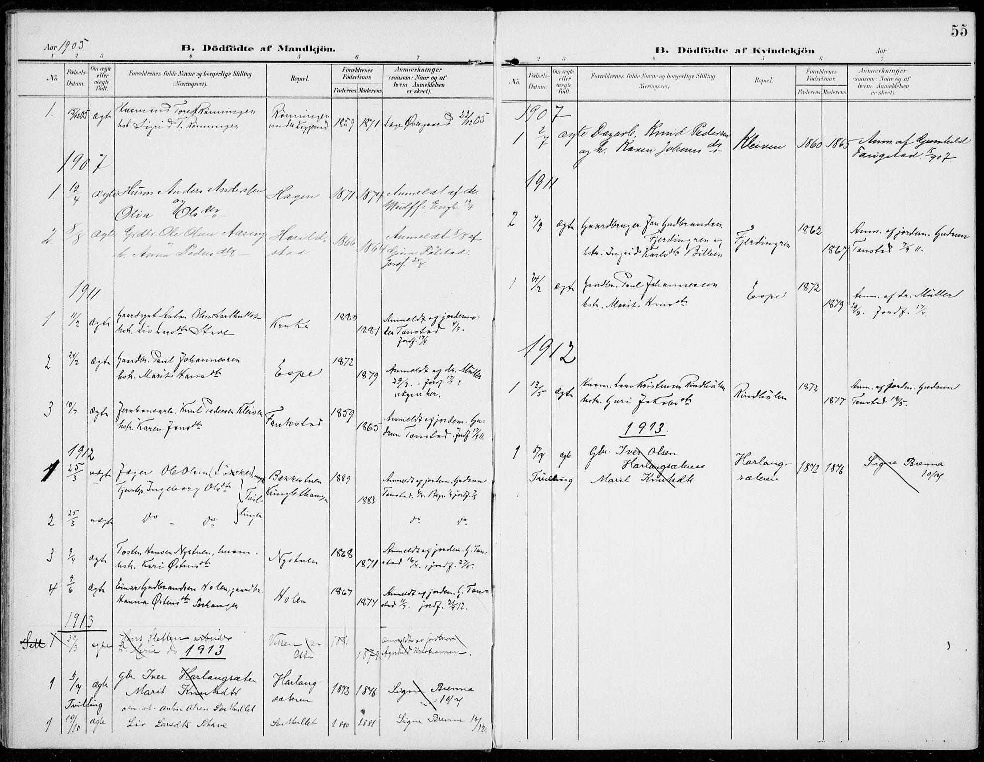 SAH, Sel prestekontor, Parish register (official) no. 1, 1905-1922, p. 55