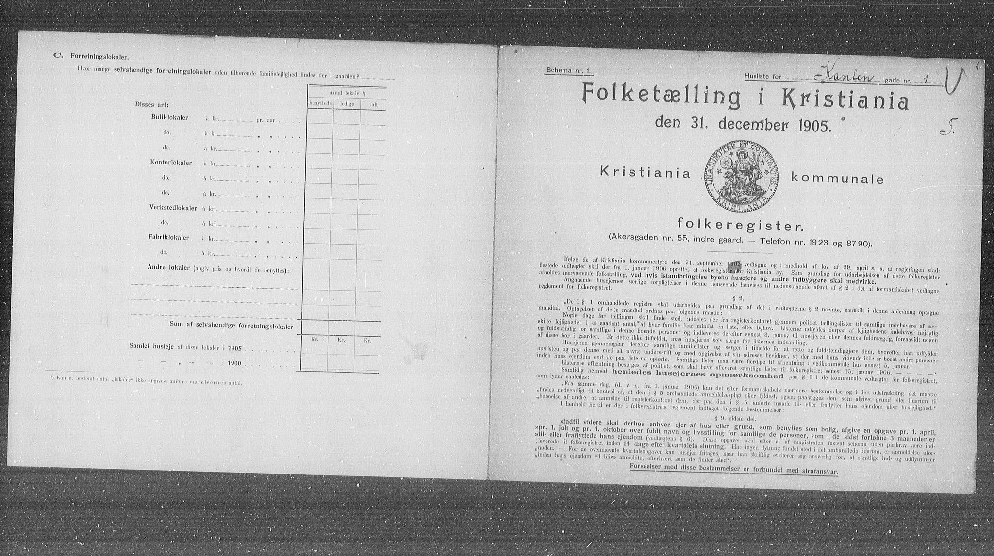 OBA, Municipal Census 1905 for Kristiania, 1905, p. 25266