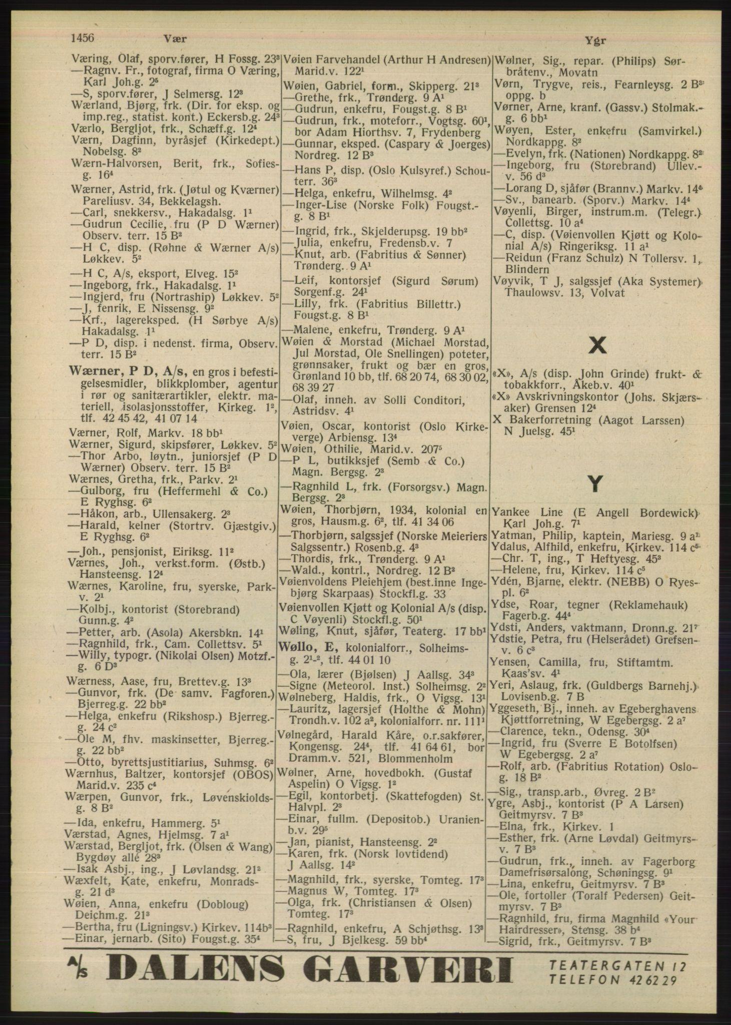 RA, Oslo adressebok (publikasjon)*, 1948, p. 1456