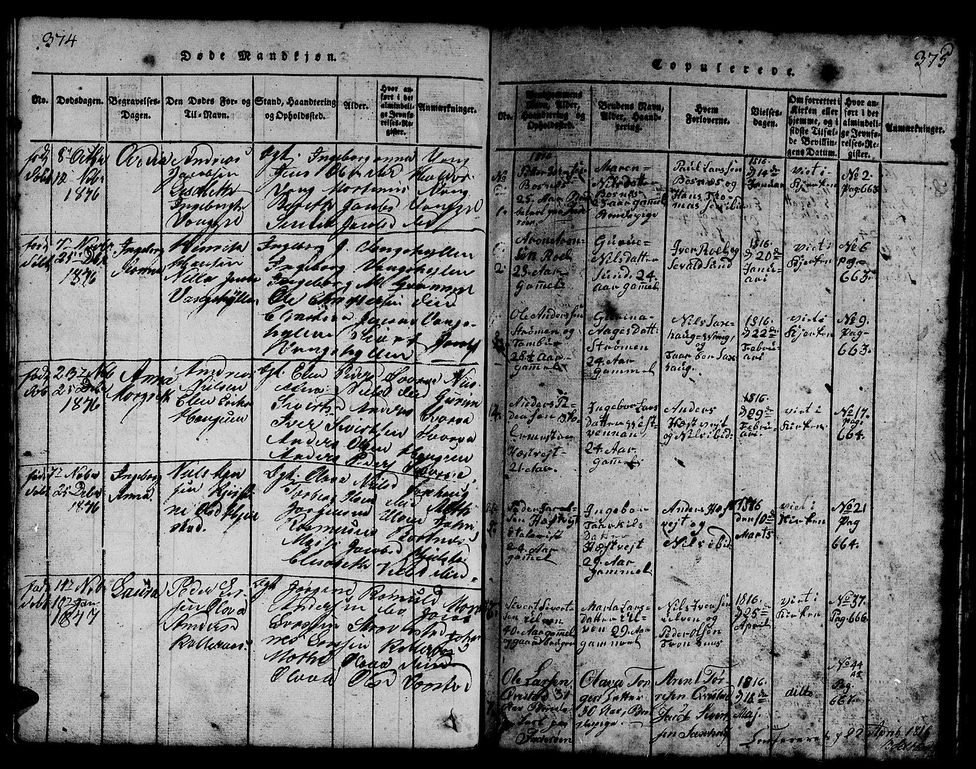SAT, Ministerialprotokoller, klokkerbøker og fødselsregistre - Nord-Trøndelag, 730/L0298: Parish register (copy) no. 730C01, 1816-1849, p. 374-375